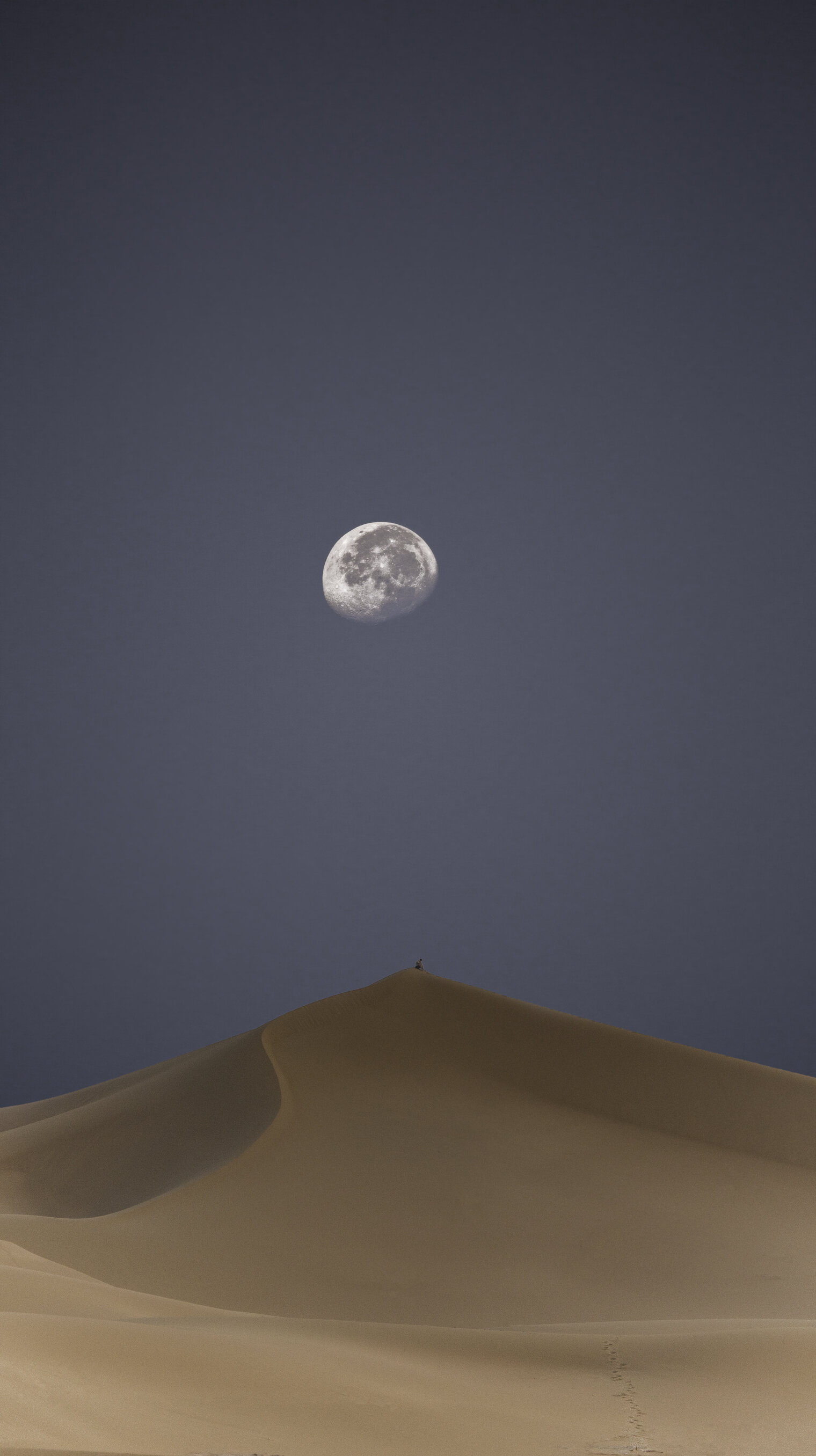 I ran around the other side of the dune to catch this image while the Moon was still high in the sky as the sun was rising.
