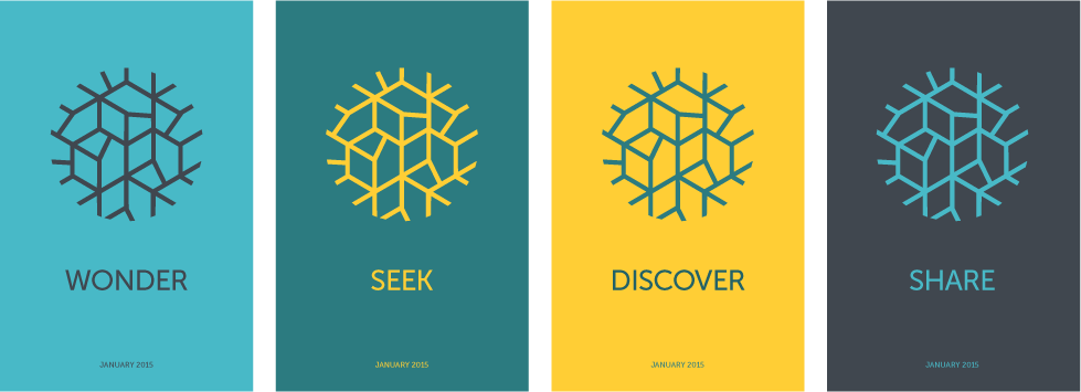 Teaser posters prior to the unveiling of the new brand displayed the mark and one of the four new brand values.