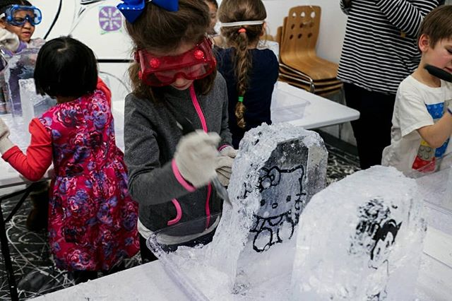 """""""Hello from Japan!"""" was an interactive exhibition for the Children's Museum of Manhattan. This workshop was made for kids but we let the adults join in too. 😊 . . . #ice #icesculpting #sculpture #hellofromjapan #artexhibit #exhibition #art #manga #hellokitty #snorlax #childrensmuseumofmanhattan #cmomnyc #cartoon #dragonballz #moomin #image #imagecarving #workshop #team #kidactivities #childrenactivities #project #teamactivity #group #icesculpture #activity #activityideas #activityinspo #worktogether #japan"""