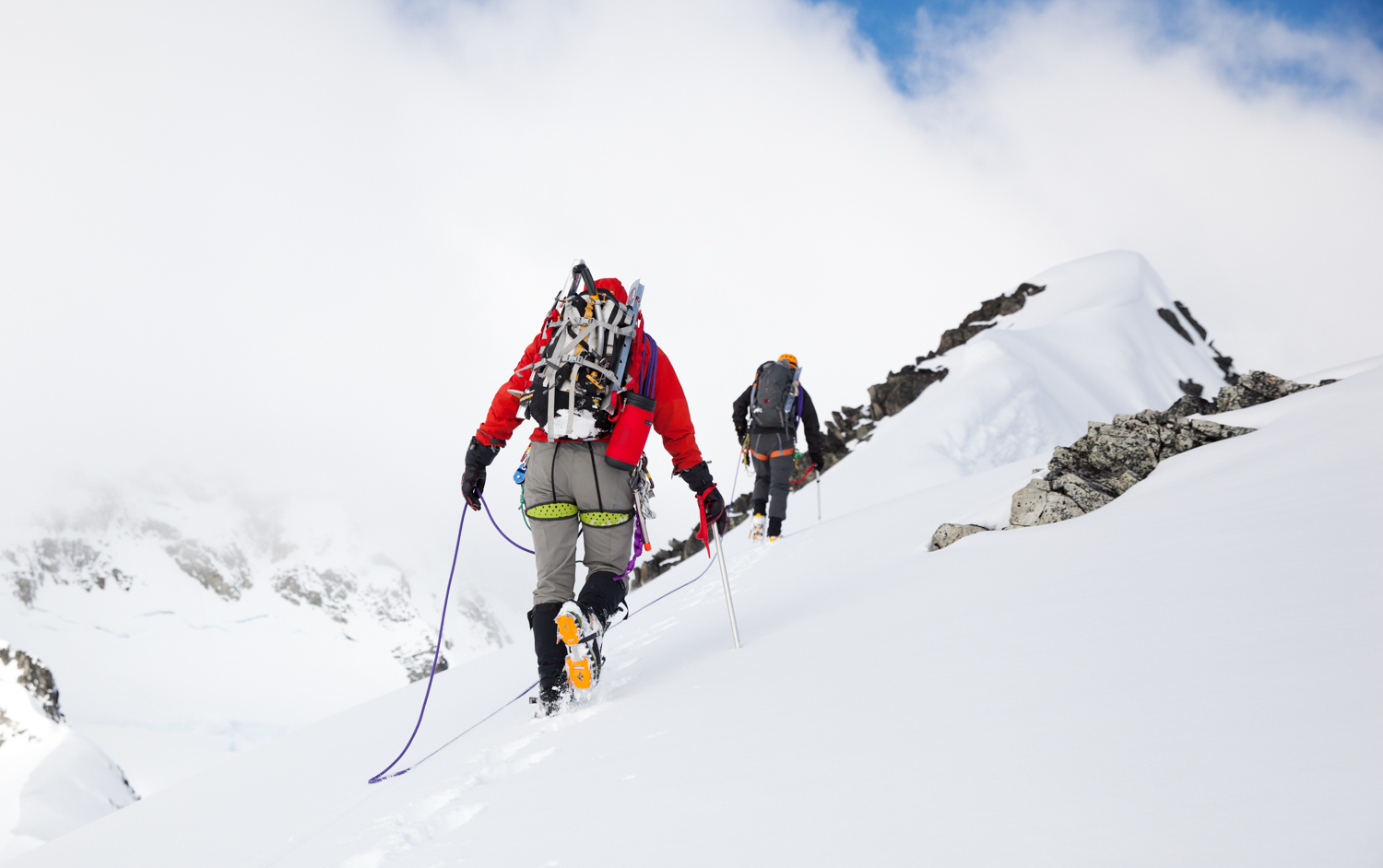 Two mountaineers ascending Wedge Mountain, Canada