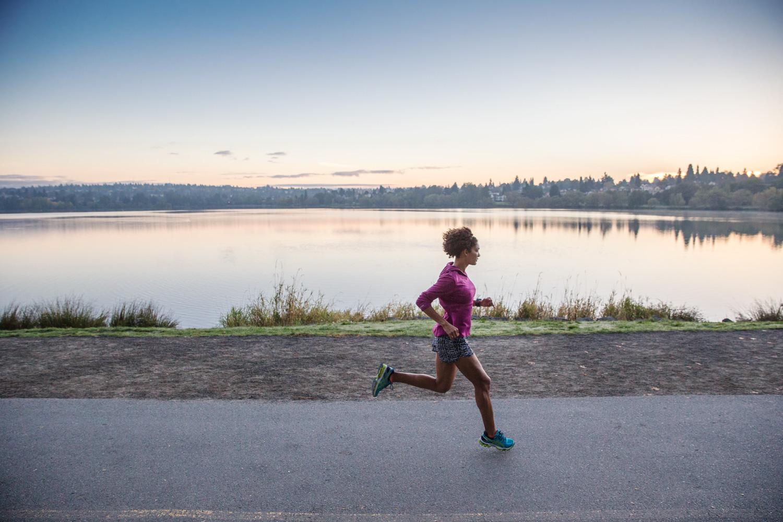 Quiet moment running at sunrise. Seattle, WA