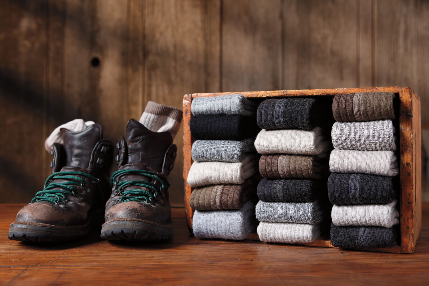 Product photography shot in studio: Danner wool sock collection.