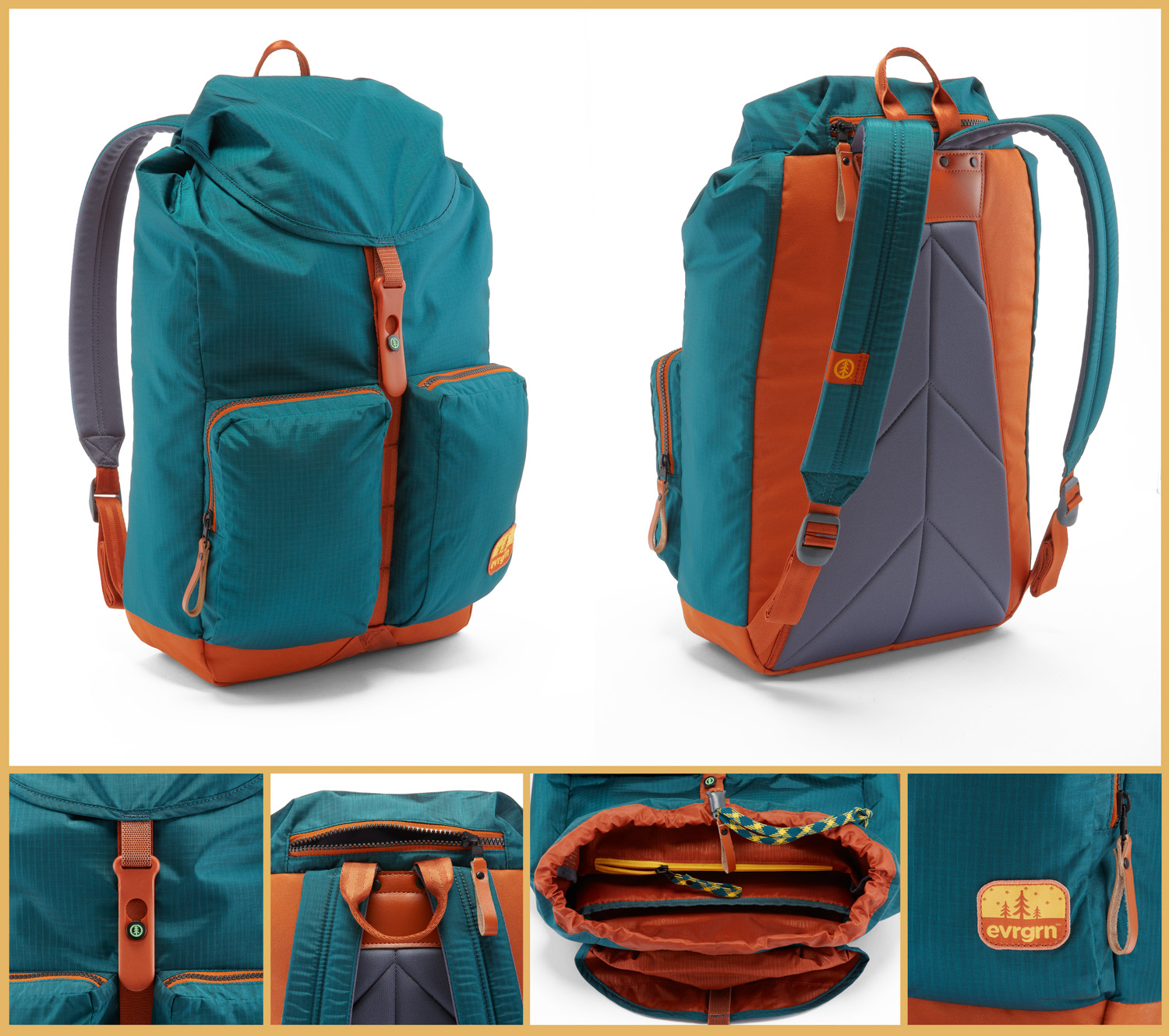 Collage of six product photos of a teal and orange EVRGRN backpack. Series shows front, back, buckle, inside, straps and handle. Photographed on white in studio.