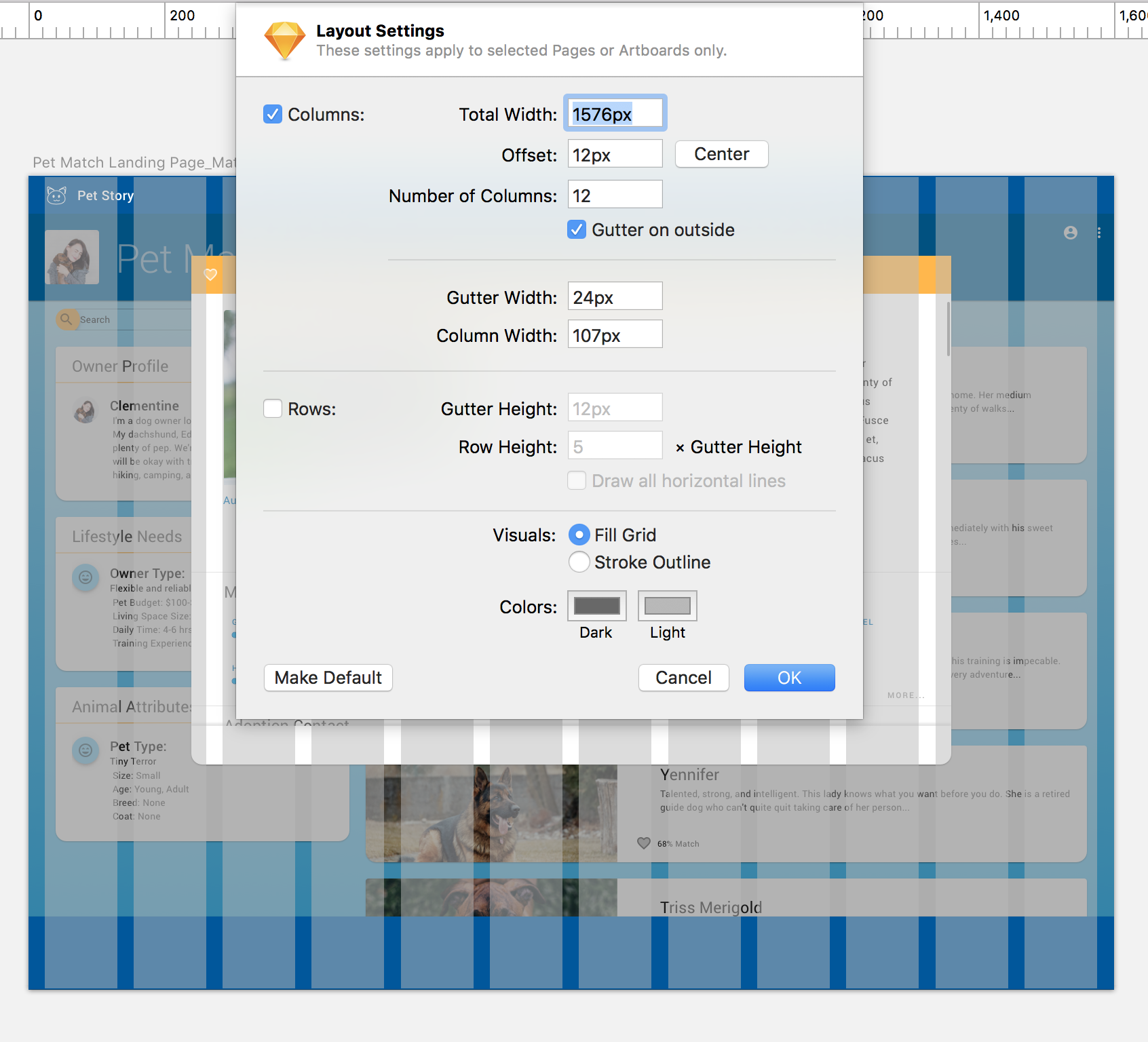 Custom layout and grid styling in Sketch