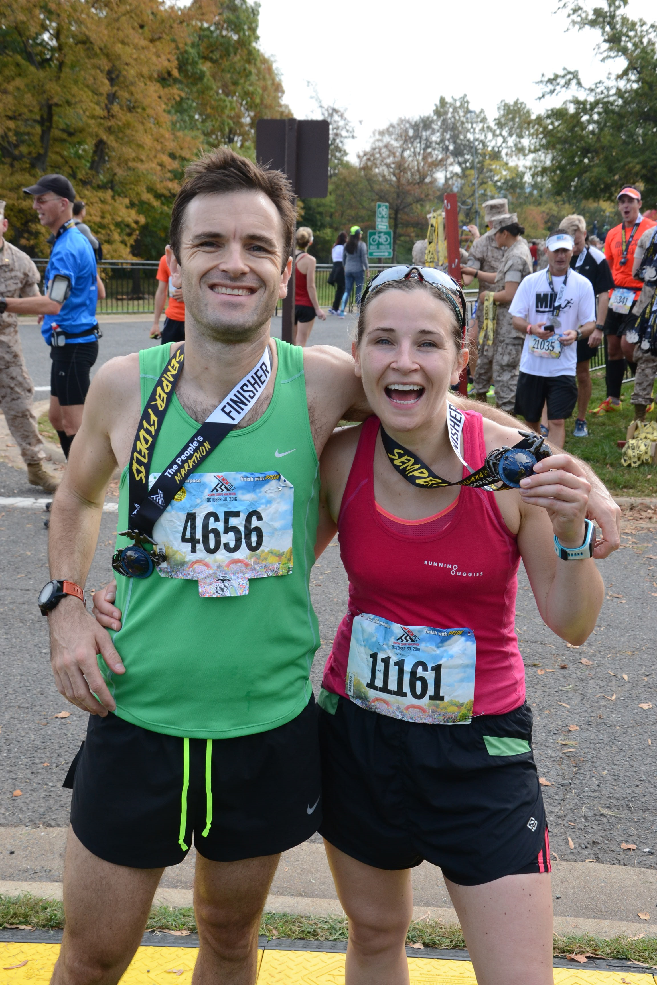 My brother and I at the Washington Marine Corps Marathon, USA in October 2016 - a new PB!!