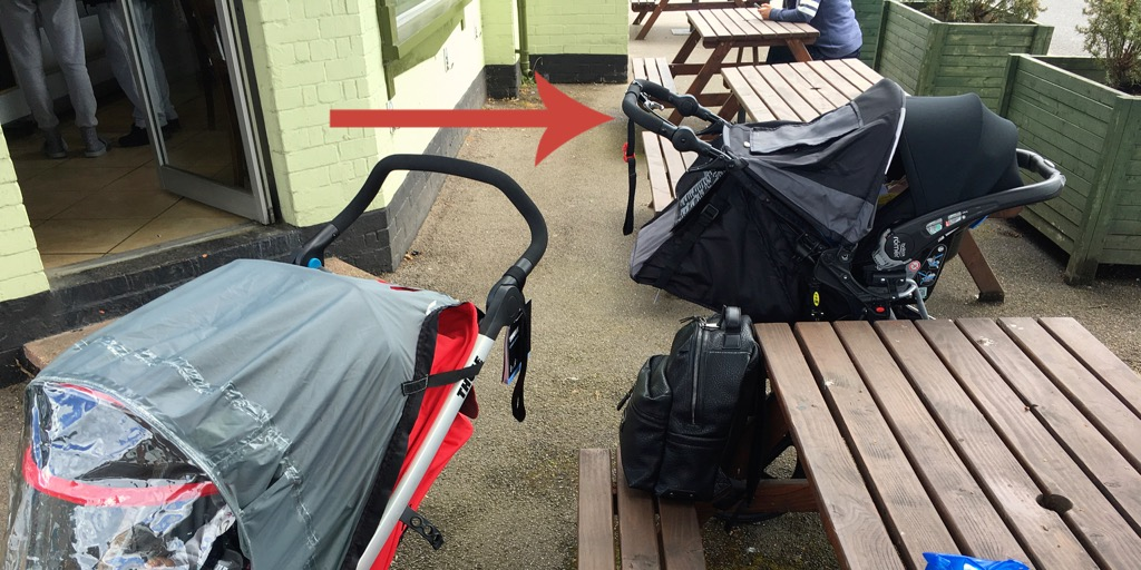 Car seat shown on the Britax BOB revolution Pro. At the cafe. Not running round the park.