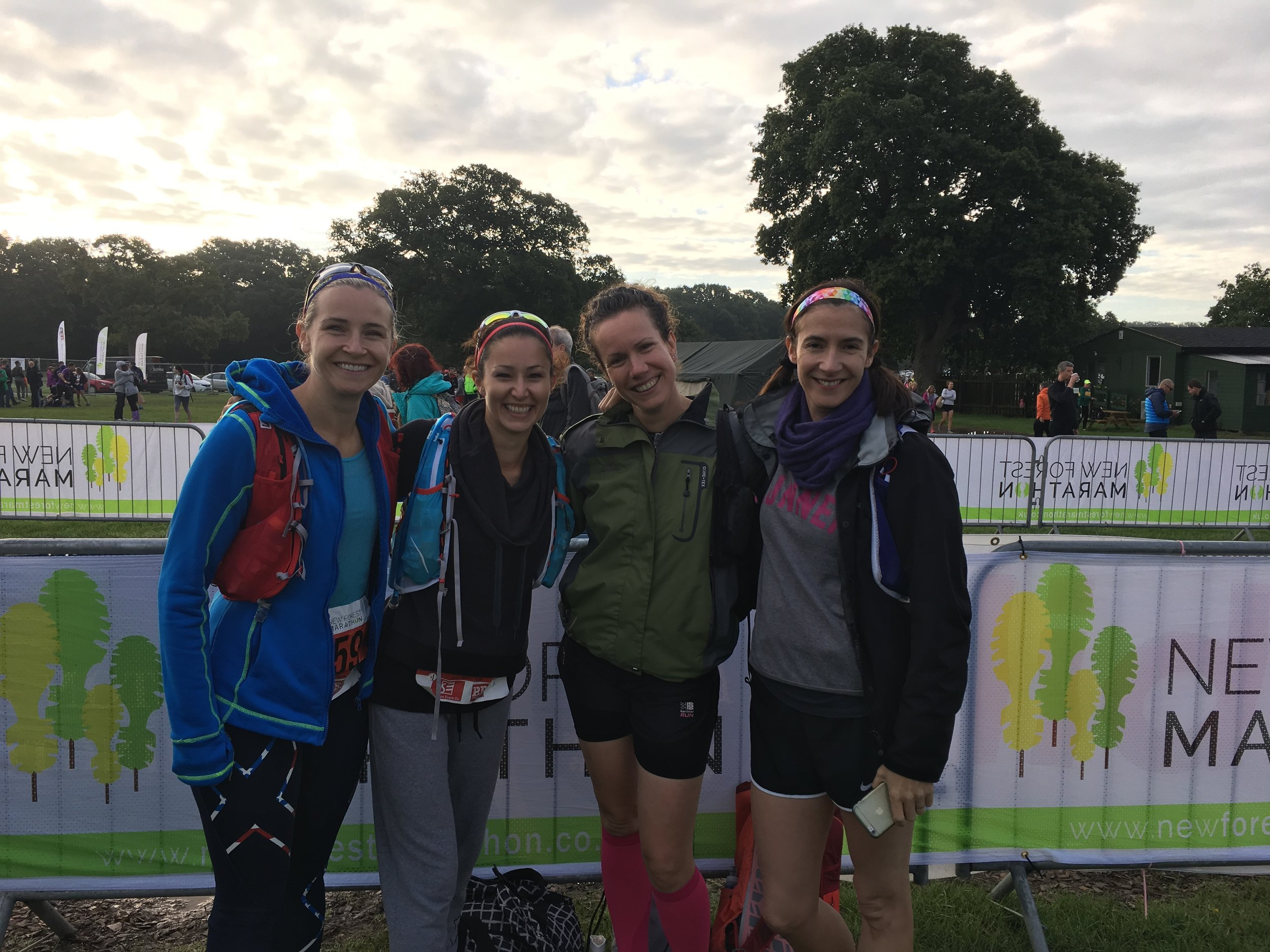 left to right (me, Laura, Hill's and Martha) at the start of New Forest Marathon