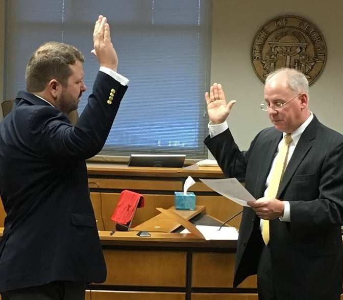 Clark Tompkins sworn in as the official Bartow County Surveyor.