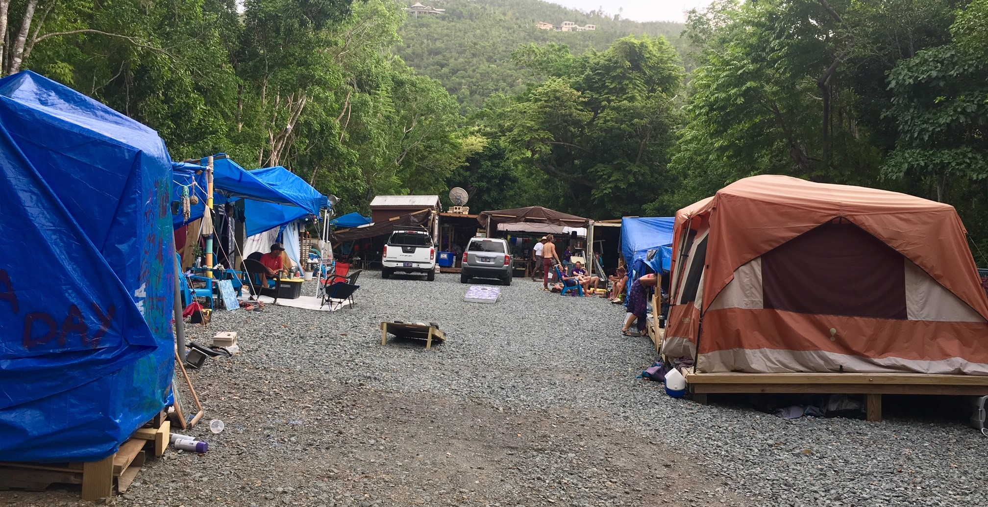 All Hands and Hearts basecamp on St. John. I lived in a tiny backpacking tent just past the tent on the right.