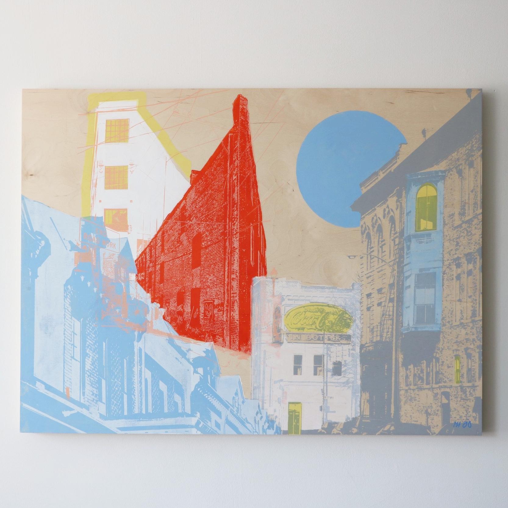 "Blue Moon City  40"" x 30""  Sold"