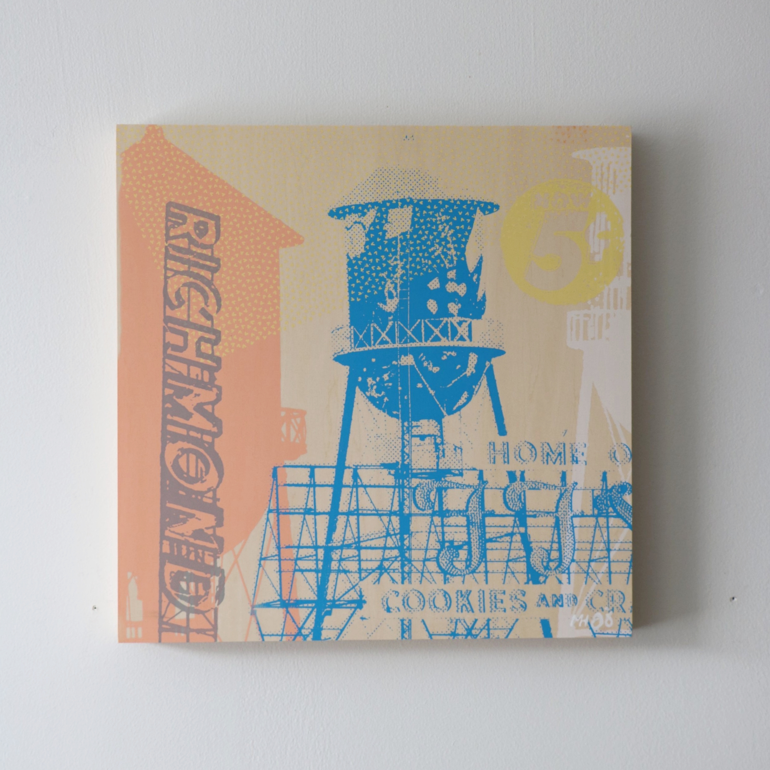 """Richmond Water Towers  16"""" x 16""""  Sold"""