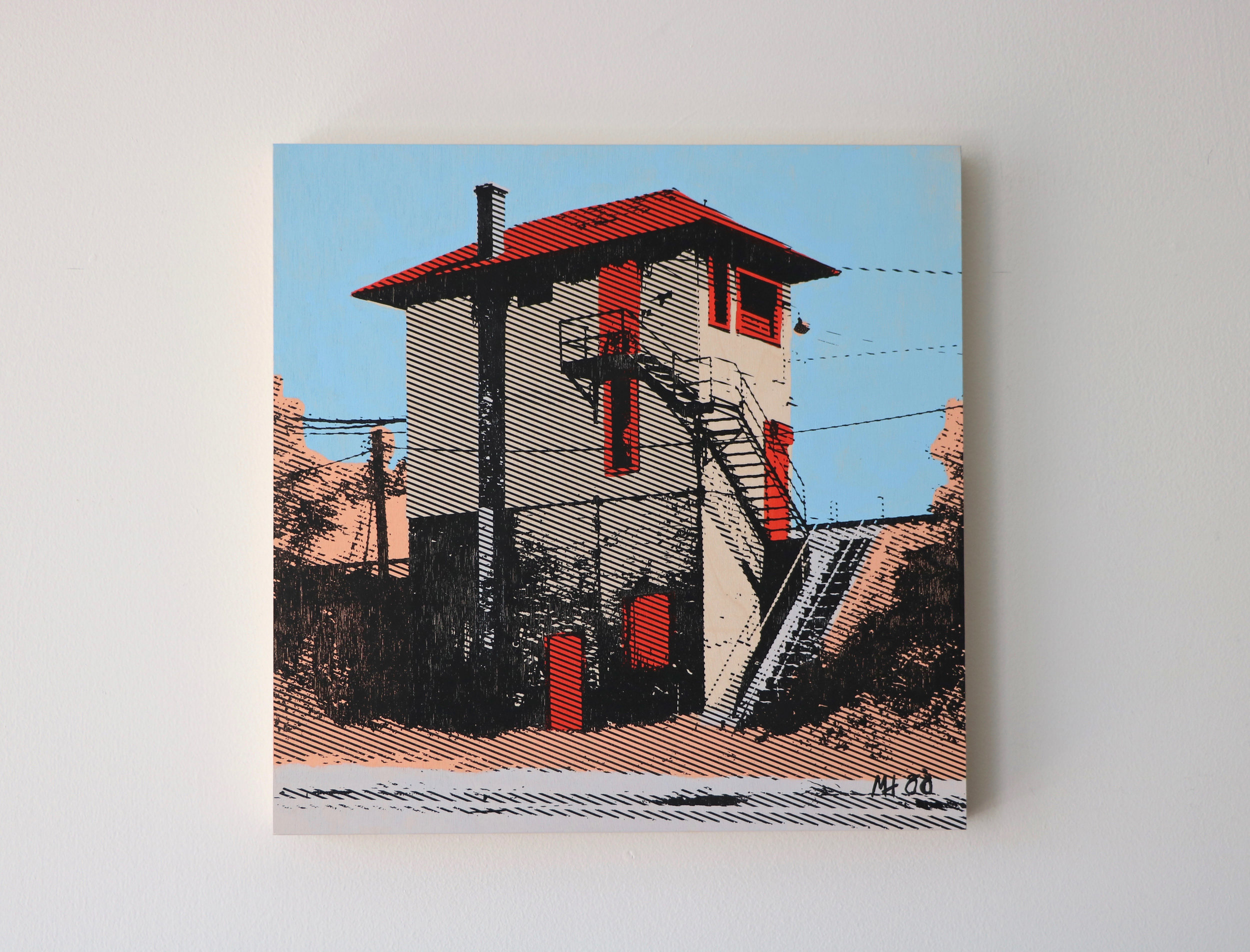 """Railroad Switch Tower  16"""" x 16""""  Sold"""