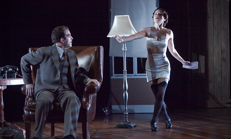 christine calfas and leif norby in the 39 steps. portland center stage, 2010. photo by owen carey.