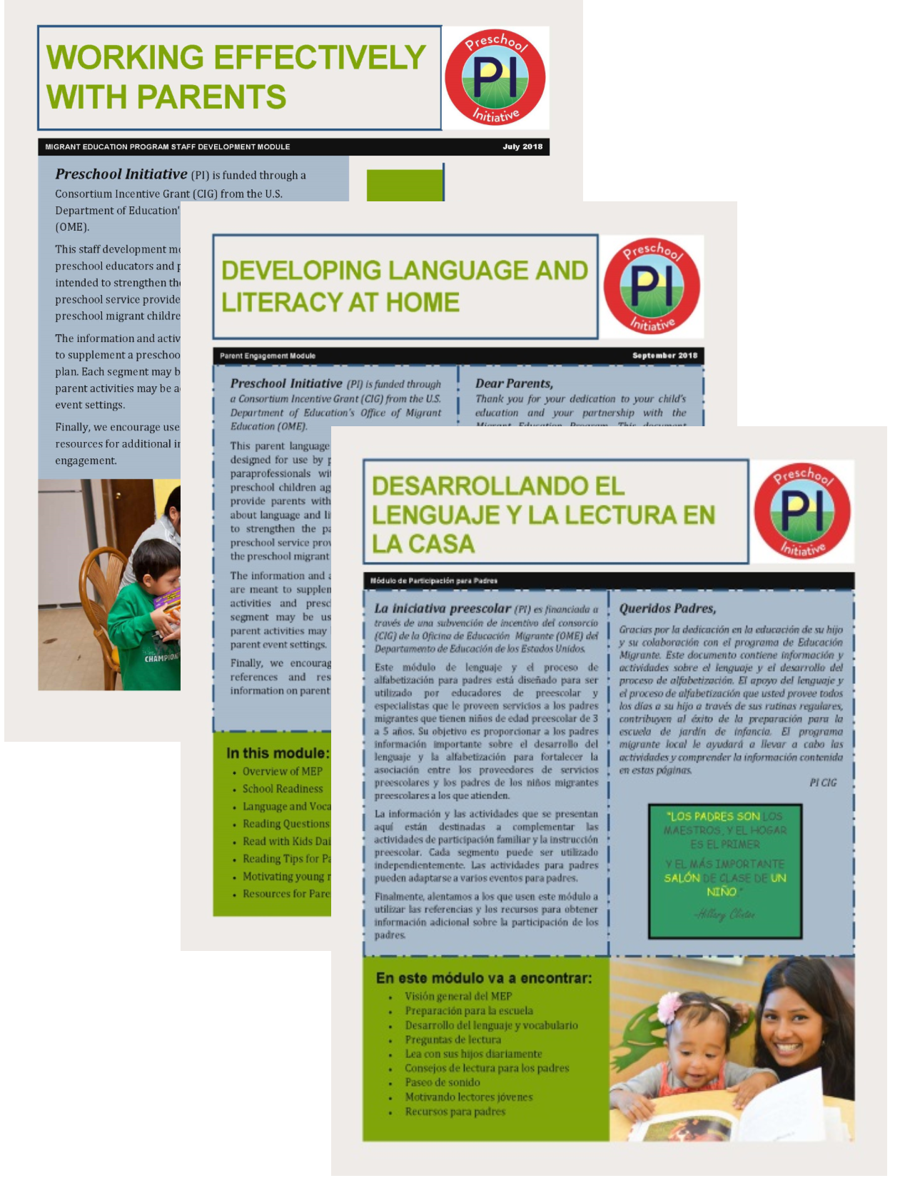 PI developed materials on Parent Engagement in English & Spanish -