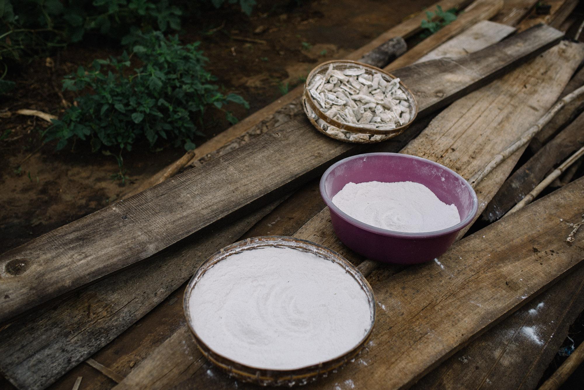 Ground cassava root used to make porridge.