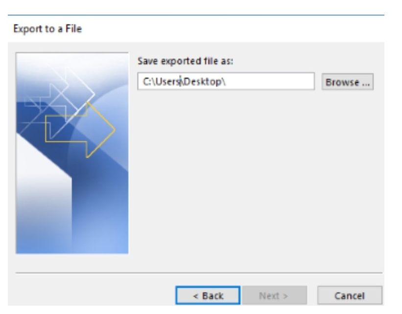 Browse until you find the file folder to store the contacts on the external drive>Finish