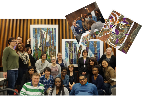 Ontario Govt. Consumer Services Dept :  Here is another example of a Team-Building creative workshop with Ontario Govt. employees, who recreated Emily Carr's totem pole paintings using collage. It was challenging working with non-artists, but they all had a great time using the right side of the brain for the day, and gained a new appreciation for art. Many participants were inspired by what they had created, and were pleased to discover that they have a creative side!
