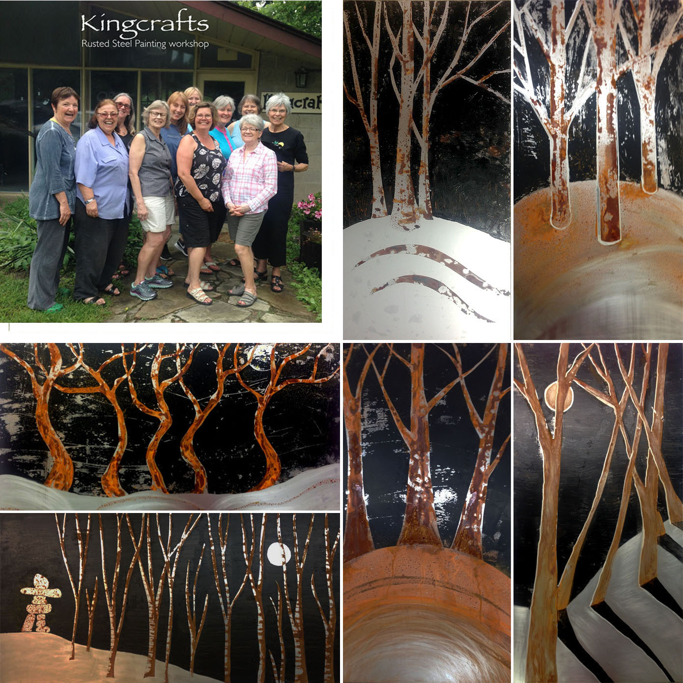 Spent a fun day playing with a lovely group of creative souls at the Kingcrafts studio where we applied a rust solution onto steel plates using various tools and techniques. Here are some of the great results that were achieved.