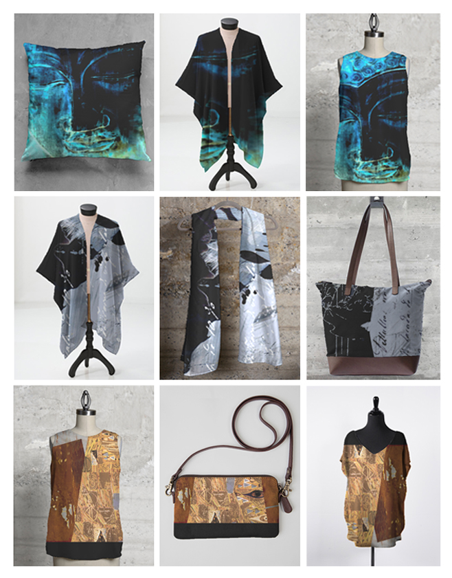 Custom designed scarves, purses, pillows, sheer wraps and tops
