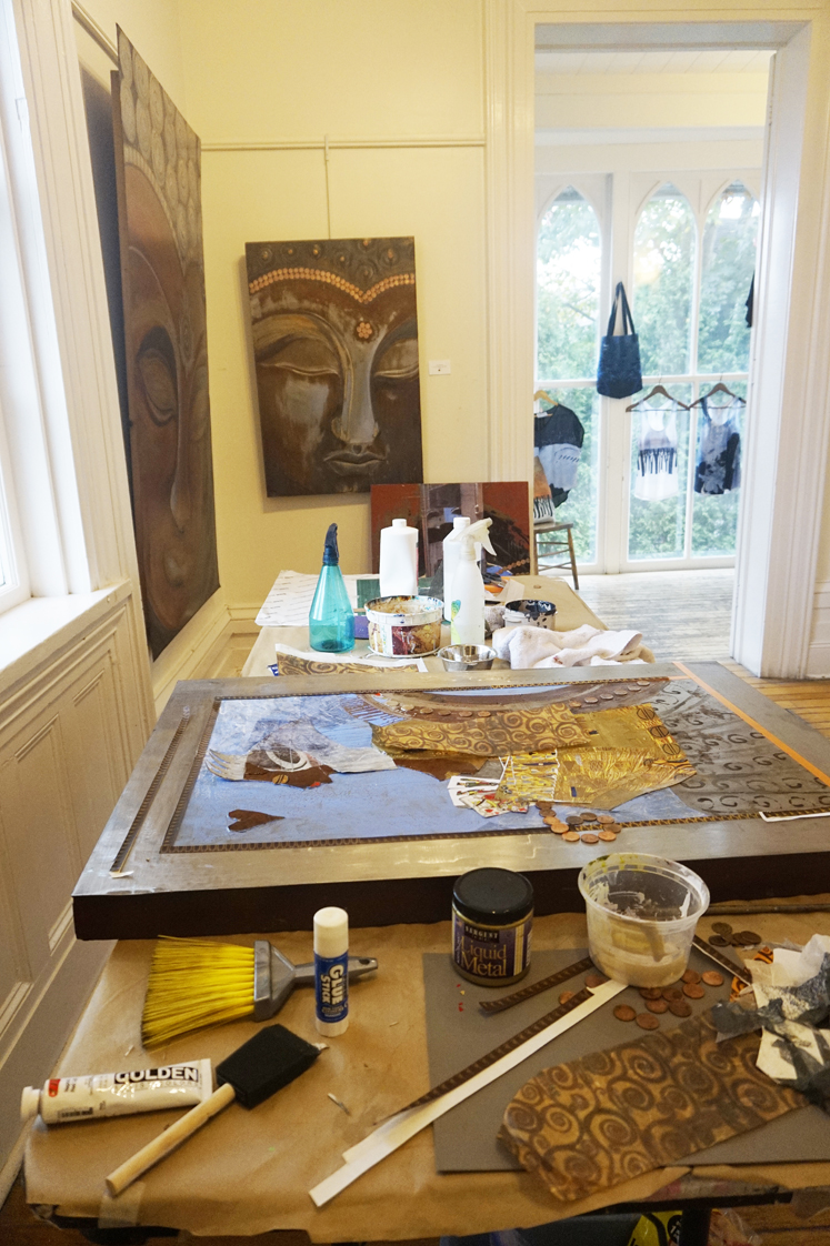 """Living up to my name as """"Last Minute Linda"""": Wasn't quite finished the last 2 pieces for the show, so worked on them at the gallery so visitors could see the process (and progress), On the surgery table: """"THE NOBLEST QUEEN"""" in honour of my dear friend Audra."""