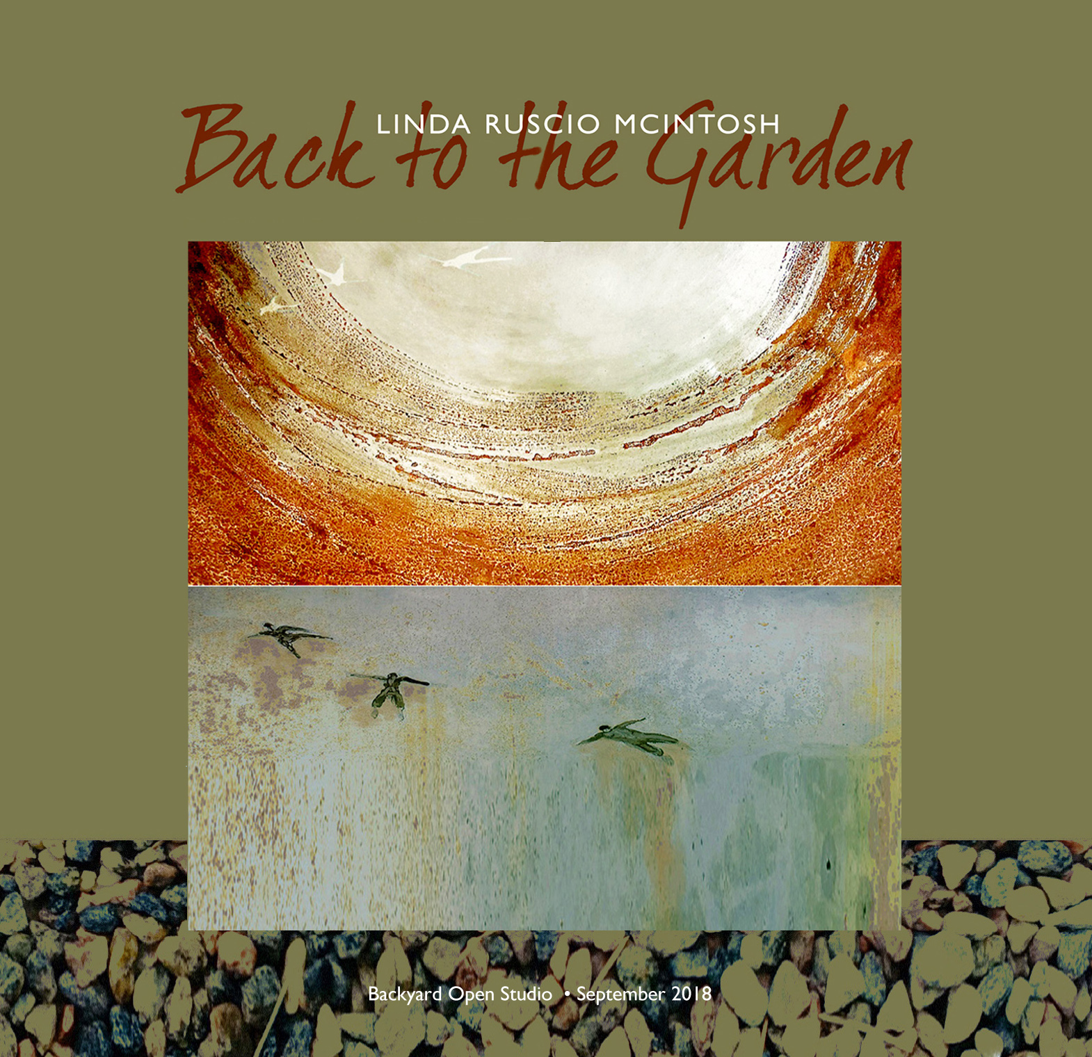 September 2018: Back to the Garden Outdoor Open Studio Reception   Twenty of my latest mixed media assemblages were on display in my backyard hanging on trees, brick walls and fences as well as emerging from the garden floor. Materials used were rusted steel, rocks, wire, glass and other found objects. All pieces are treated with an exterior finish so that they can be displayed outdoors. The event was such a success, I plan on making it an annual event presenting a new series based upon the human/earth relationship.