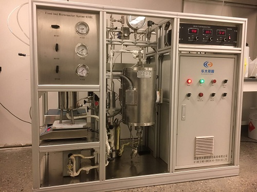 Fixed bed micro-reactor system, up to 50 mL/min, pressure up to 10 MPa