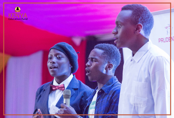 (From Left) Wendy, Boniface and Peter presenting a song)