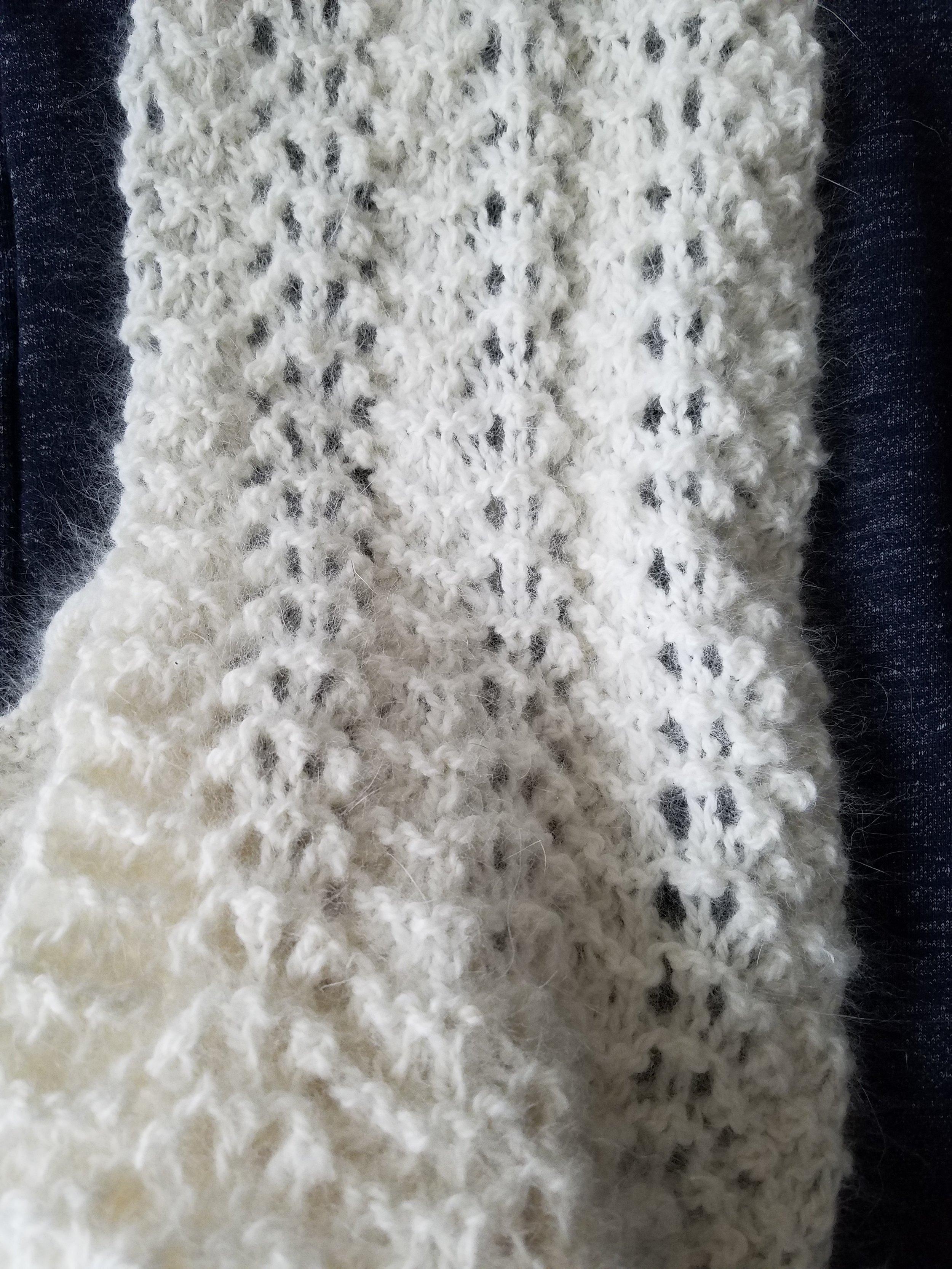 - HAND-KNIT SCARF - made using The Rosefield 50% angora/50% merino yarn