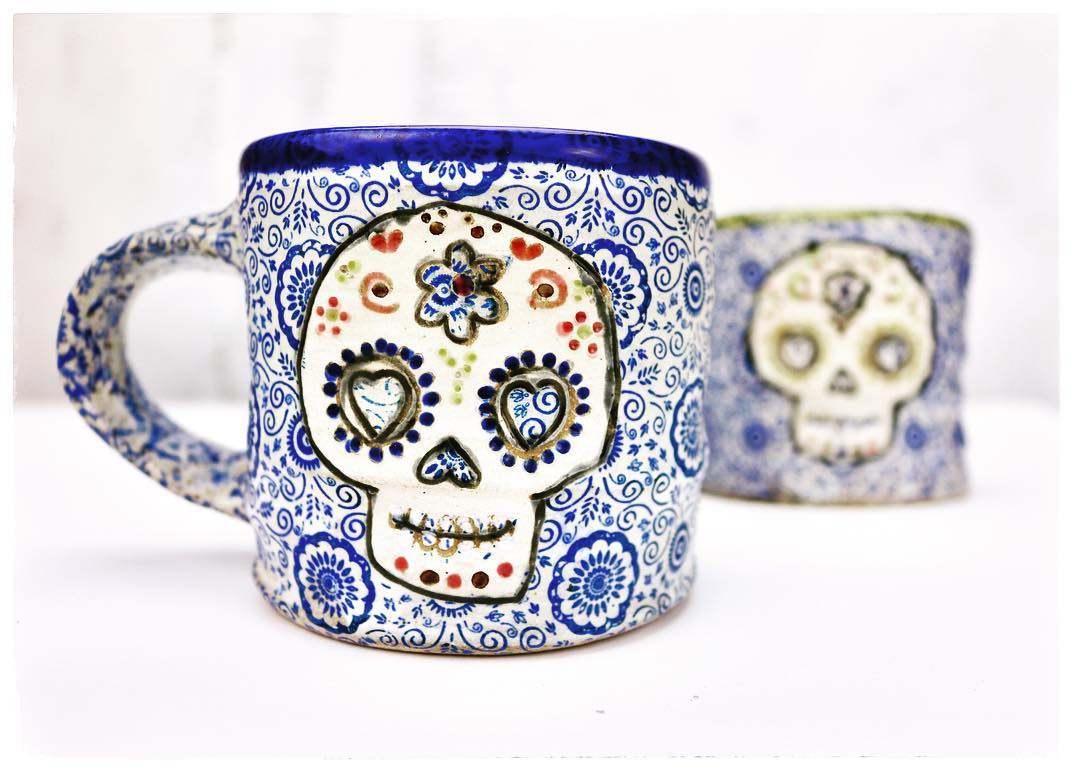 sugar skull mug cobalt.jpg
