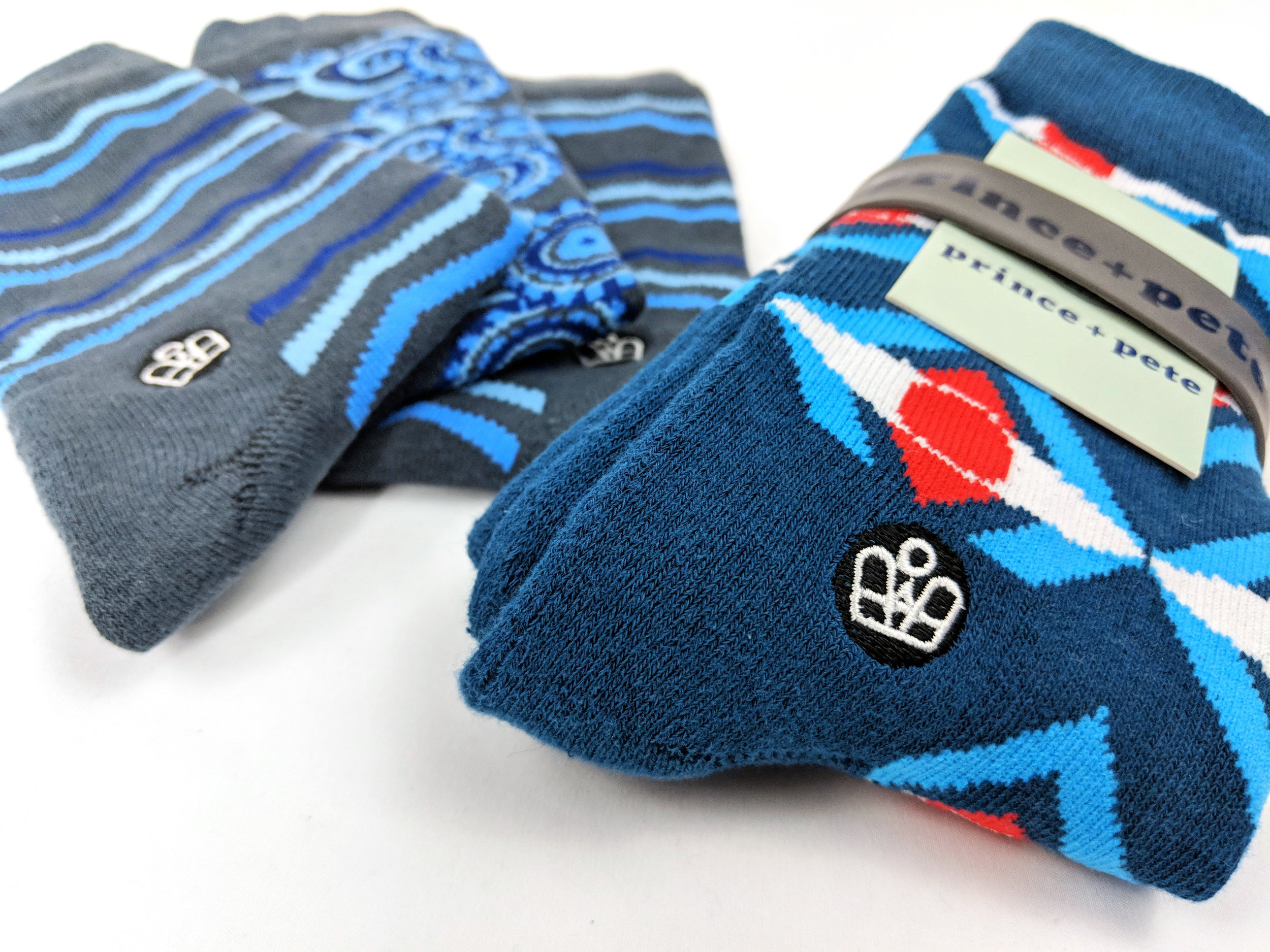 "Sock Styles from the ""Worth"" & ""Mercer"" Collections, left to right. Photo Credit: The Sock Review"