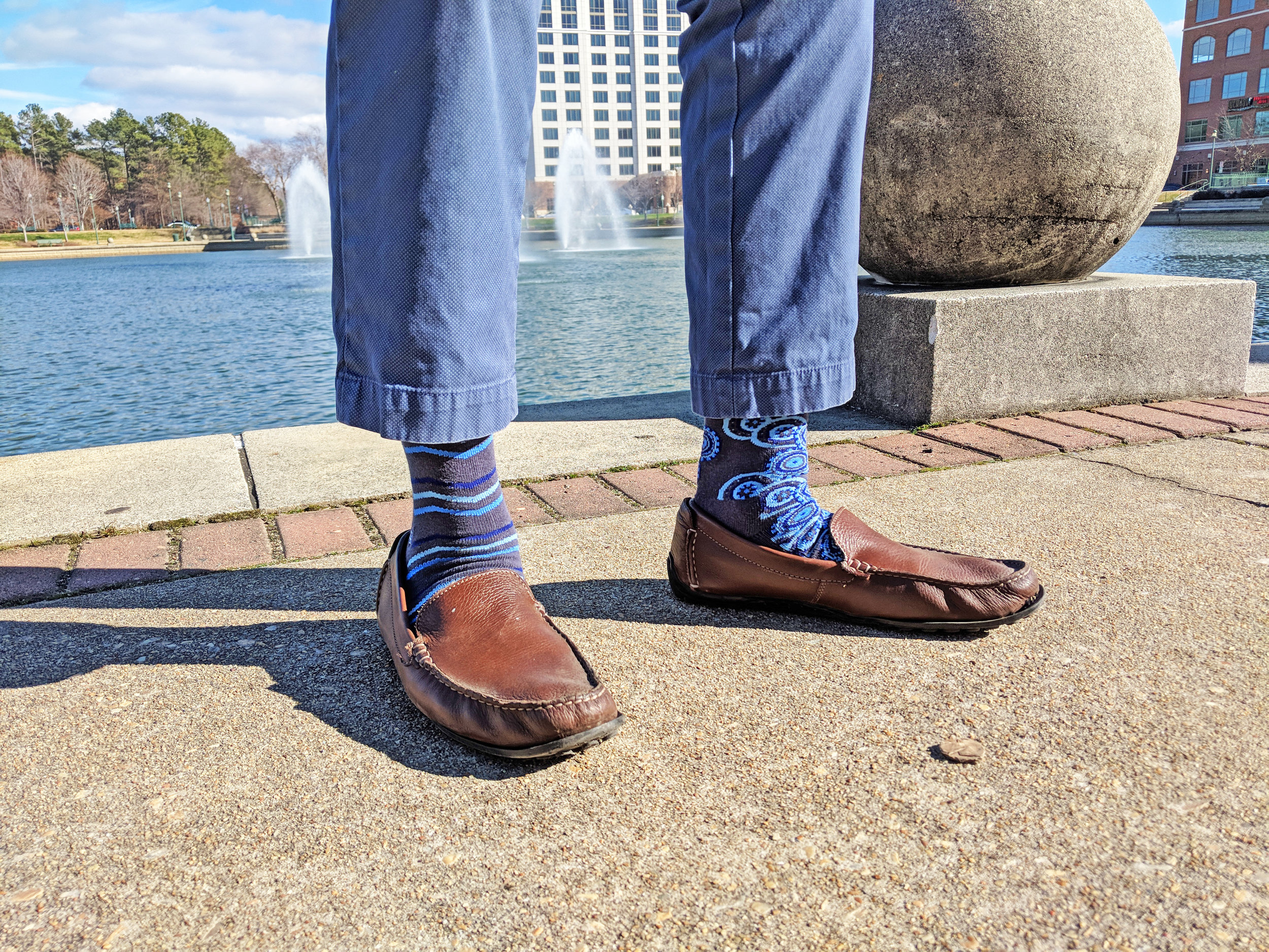 "Tastefully mis-matching styles from the ""Worth"" Collection. Photo Credit: The Sock Review"