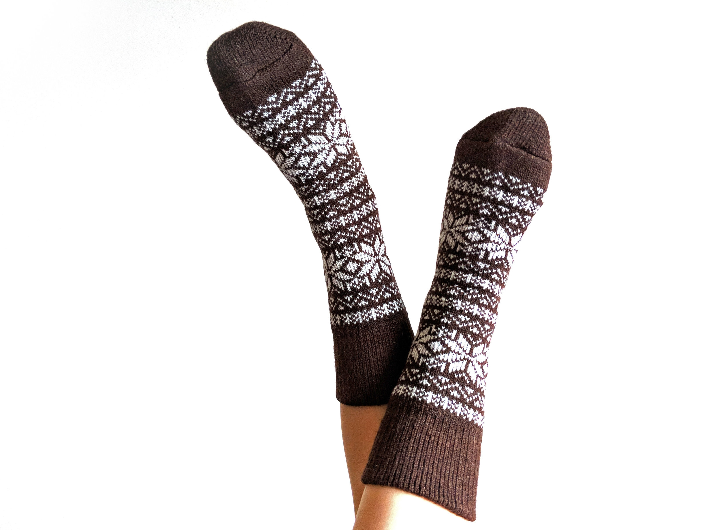 Camel Wool Socks with Scandinavian Ornament - Photo Credit: The Sock Review