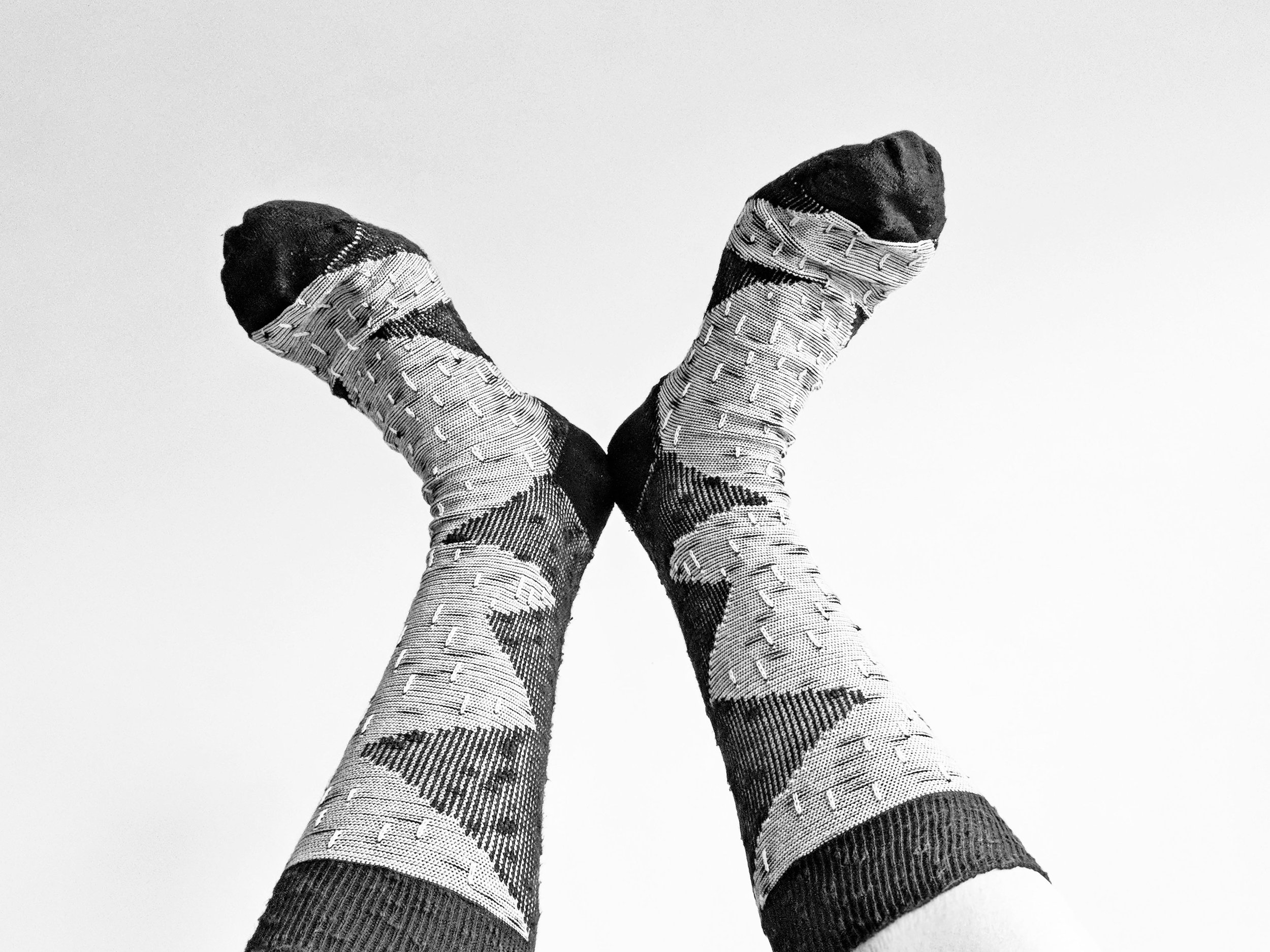 It's a monochromatic day here at The Sock Review (and that's not a bad thing!) Socks on a cloudy day - Photo Credit: The Sock Review