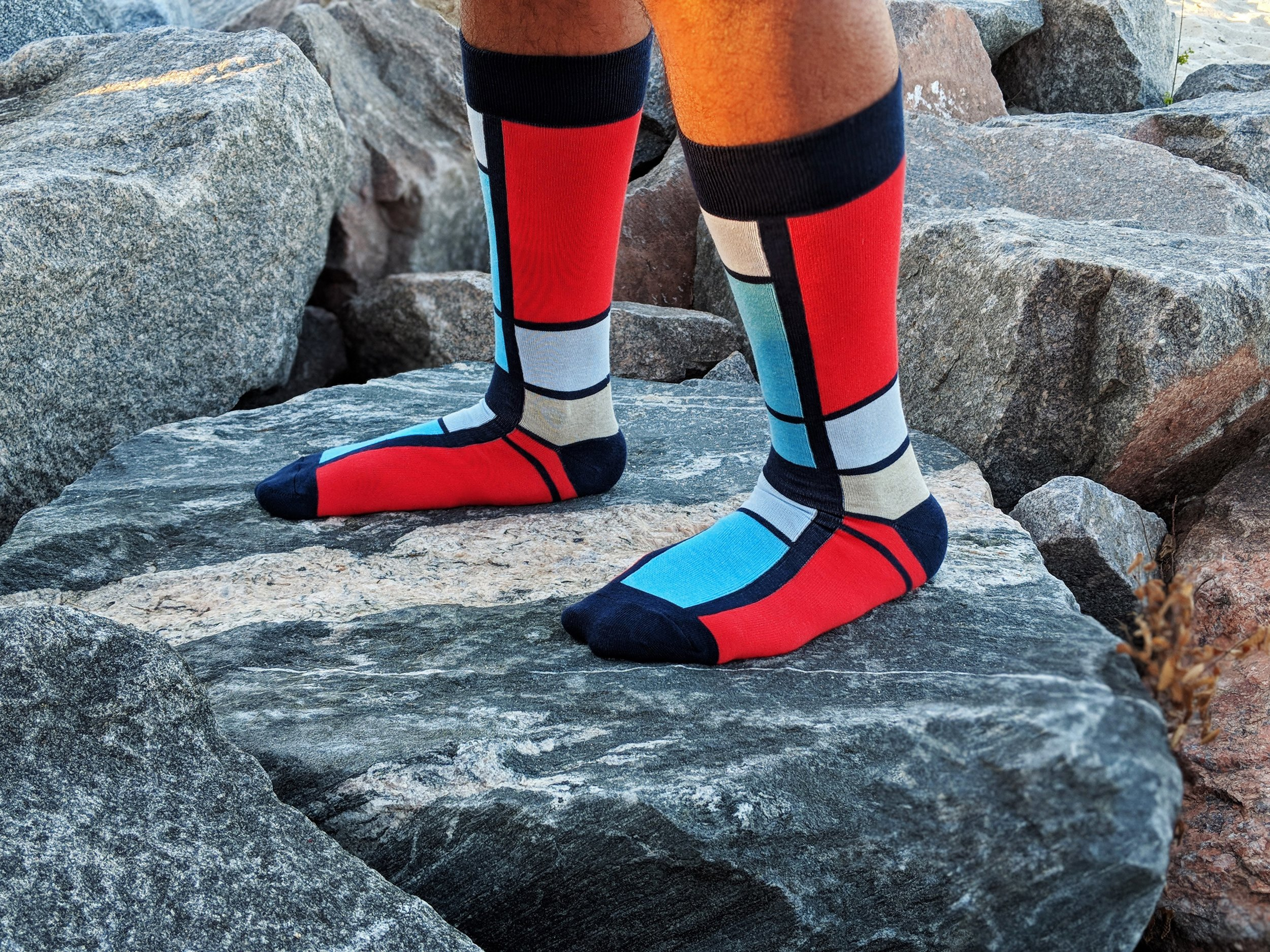 A bit of Mondrian in your step. Geometric knit-in design based off the painting called   Composition   by Piet Mondrian. Photo Credit: The Sock Review