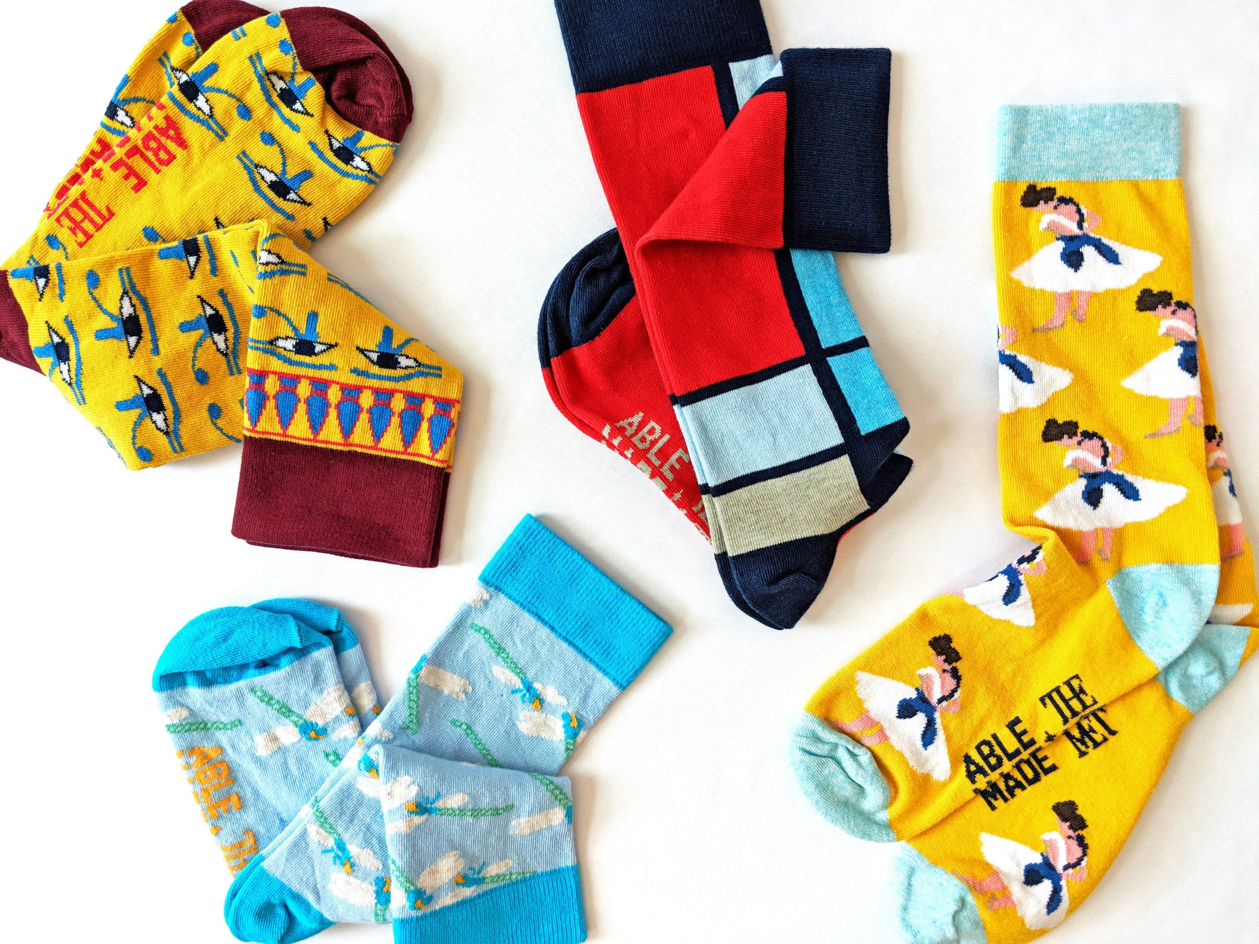 Just a sampling of the vivid assortment of socks from the Able Made x The Met collection - Photo Credit: The Sock Review