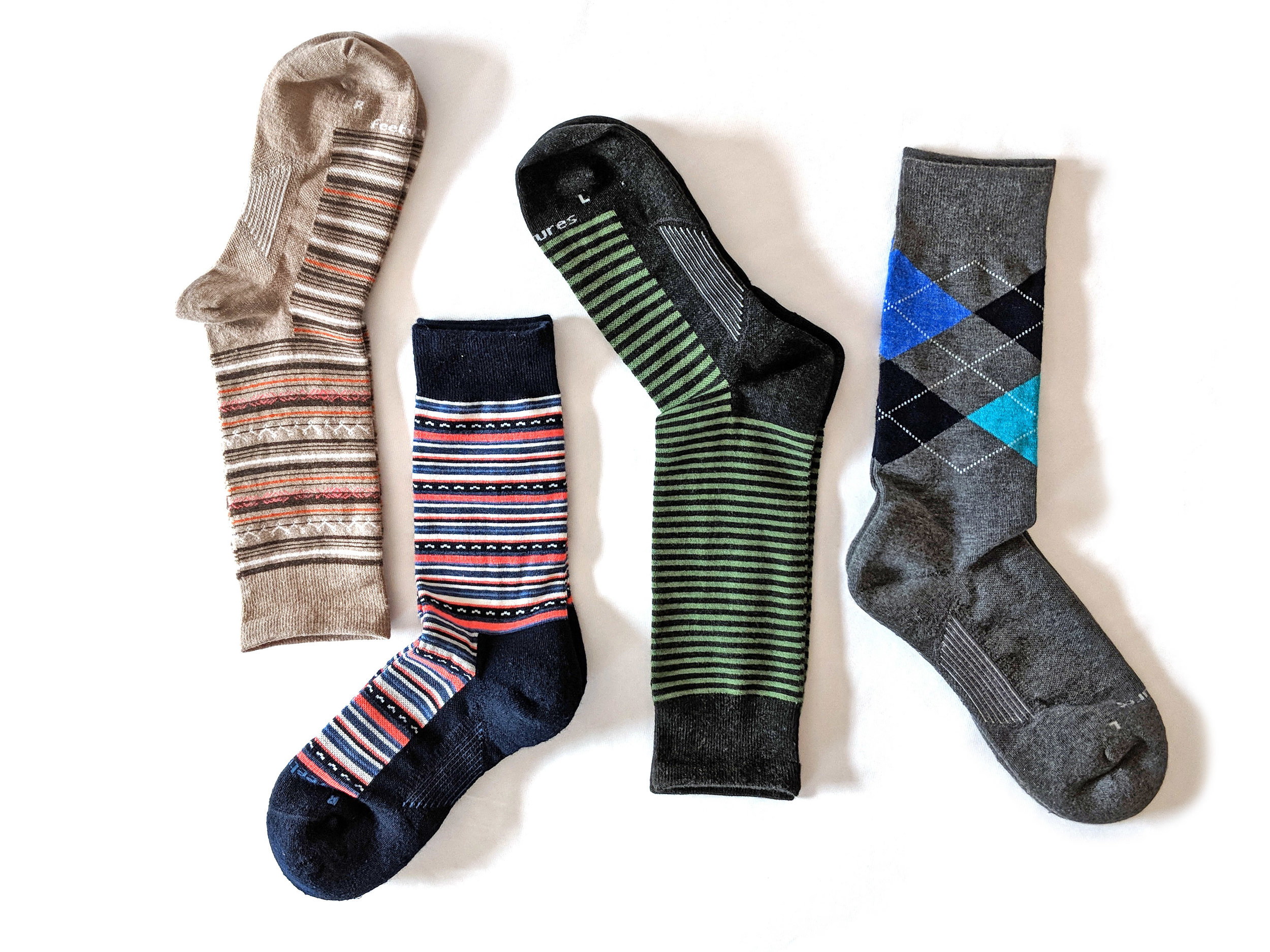 Flat lay photo of Feetures socks - Photo Credit: The Sock Review