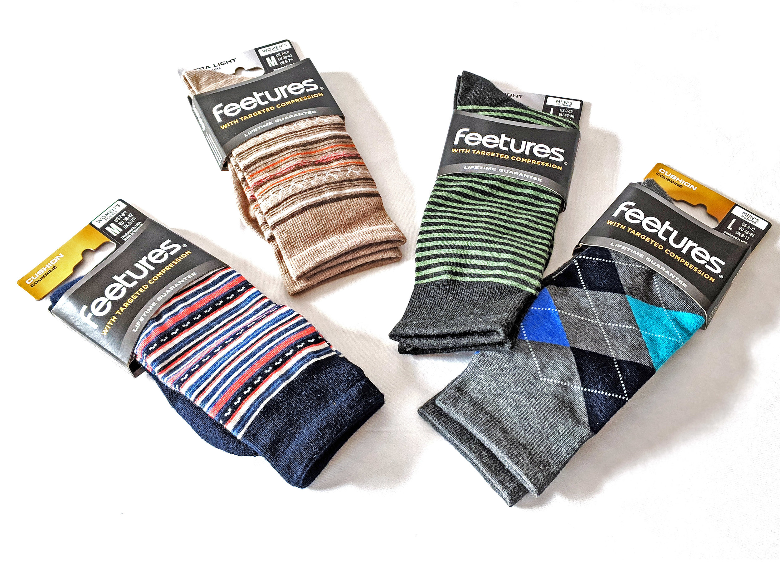 Feetures socks in packaging, highlighting the variety in designs available. Photo Credit: The Sock Review