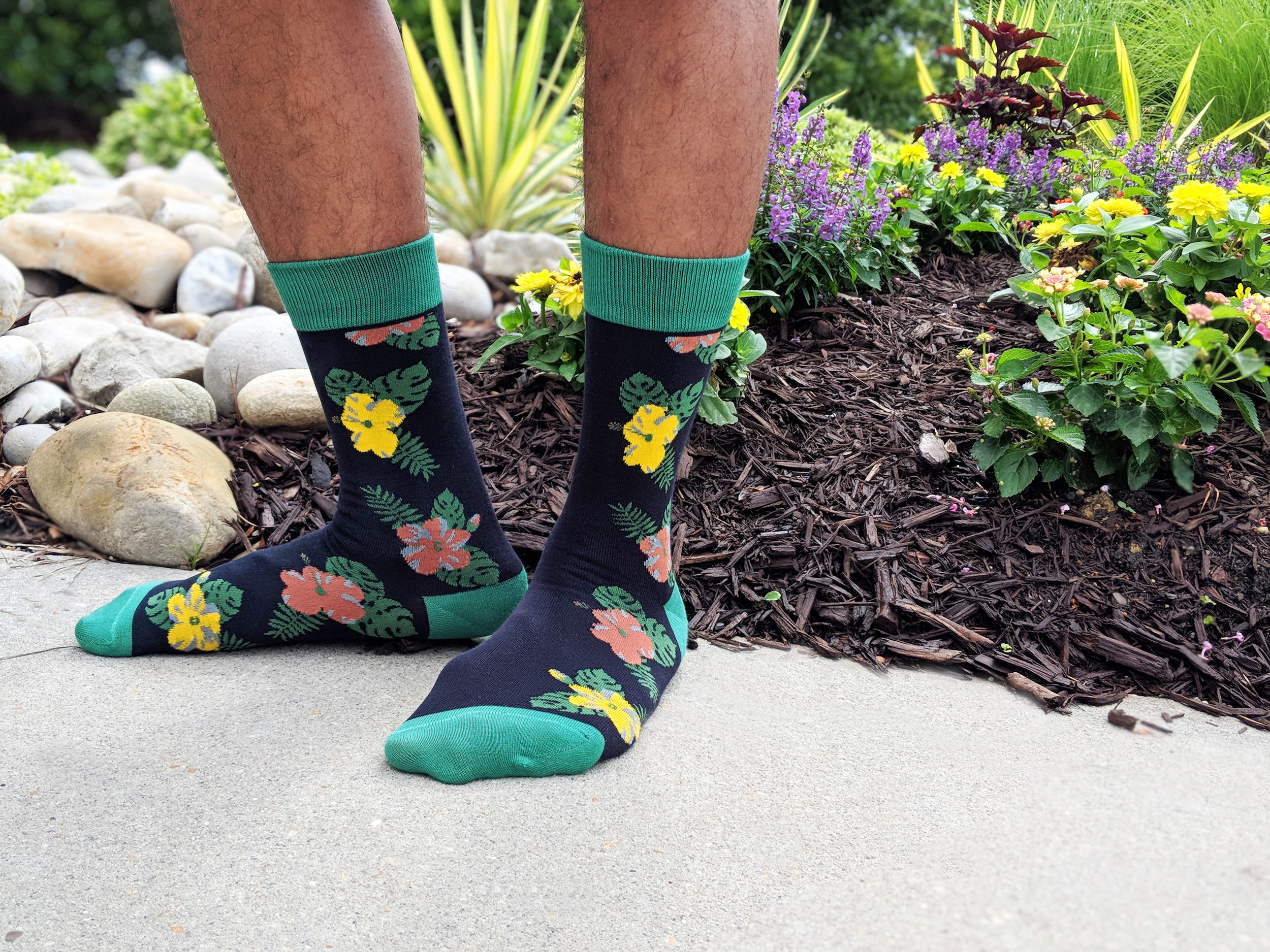 The Wilde Floral style out in a 'fitting' environment; the hibiscus rose motif is well-done in a classic way. Photo Credit The Sock Review