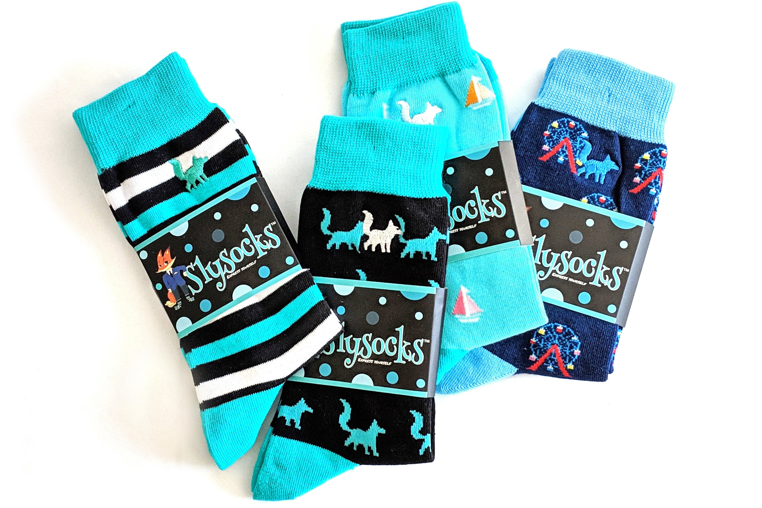A Set of Superbly-Stylish SlySocks! Add a splash of color into your sock drawer - those foxes are looking fabulous!