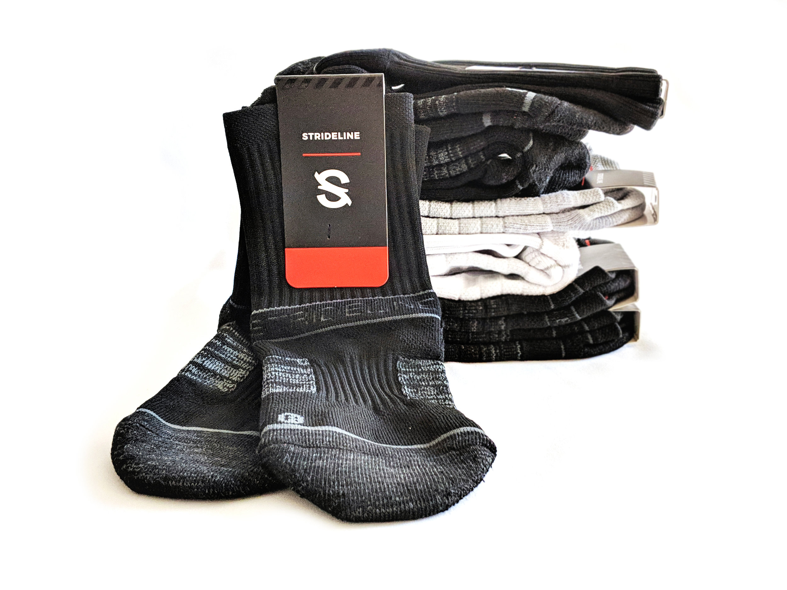 Strideline socks offer a striking design; the cushion, specialized yarns, and packaging really make it work.