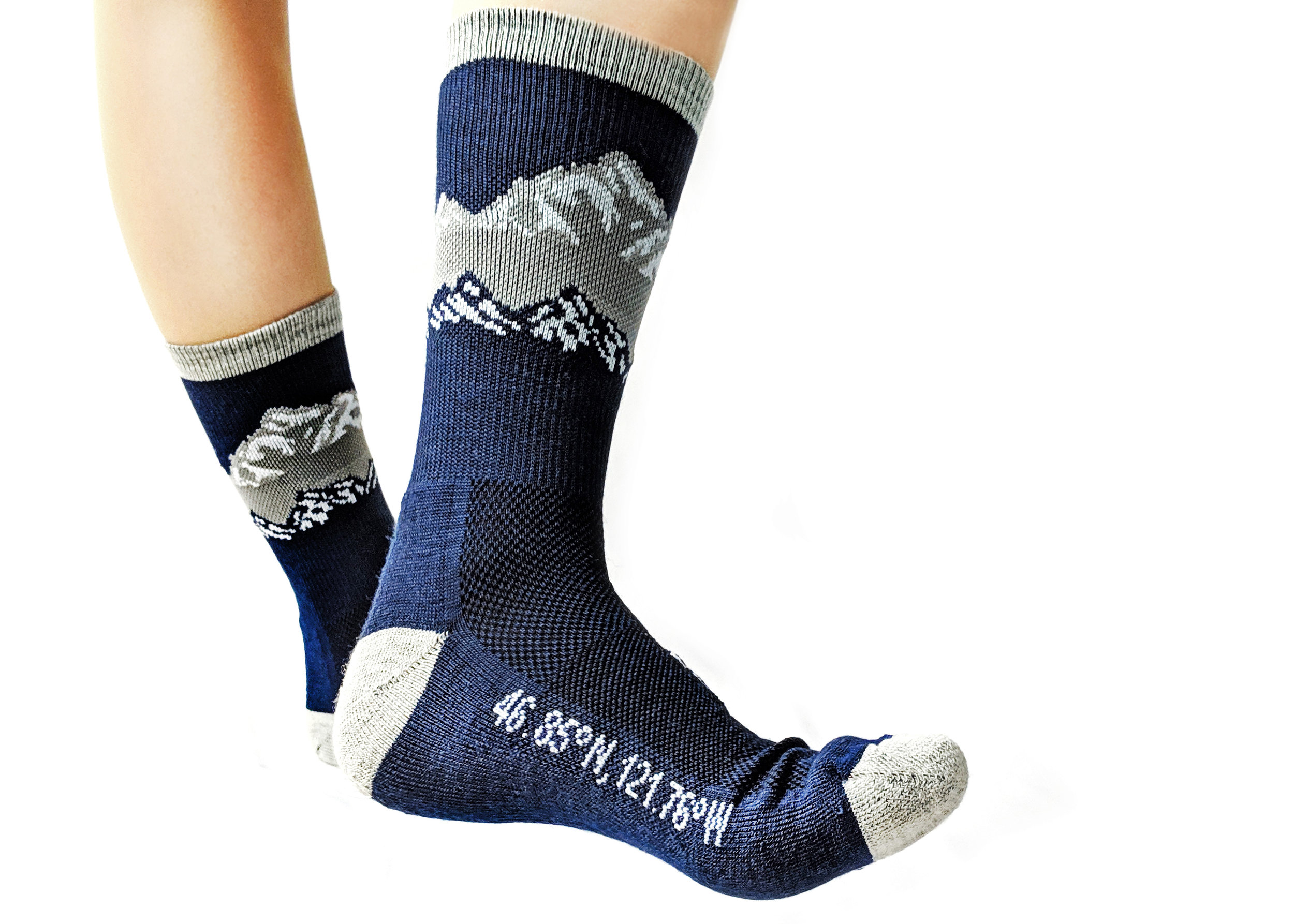 'The Cascades' sock style featured here - From The Ground Up brand