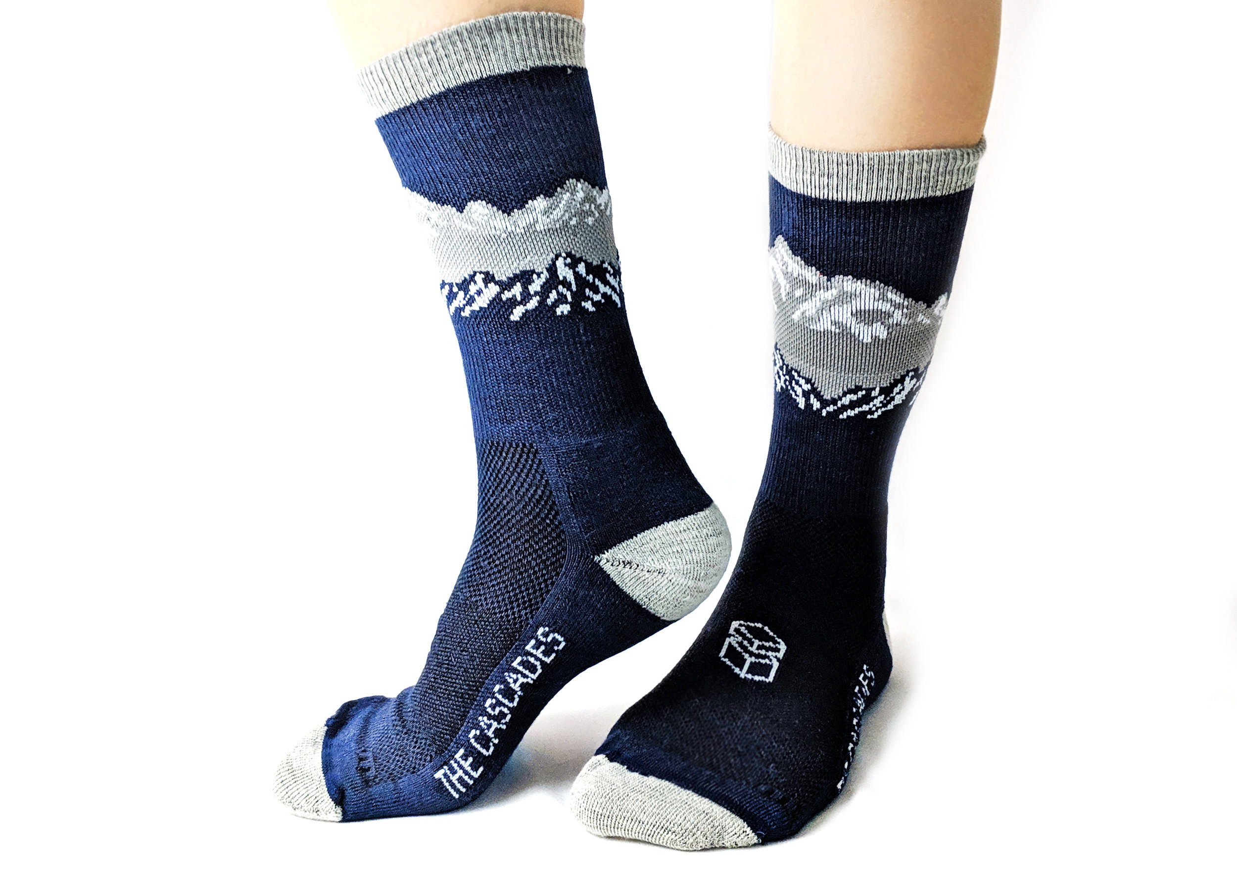 Solid blues, heathered greys & Merino wool yarns - make for a great hiking sock.