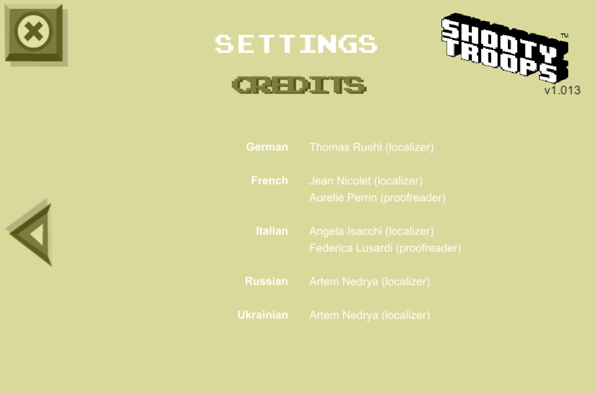 Credits for Shooty Troops (video game, EN-RU)