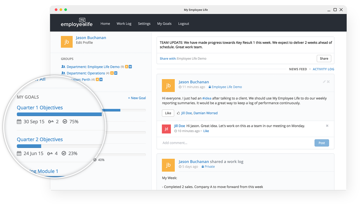 My EmployeeLife is a performance management solution that allows users to log, share, and compare work with colleagues.