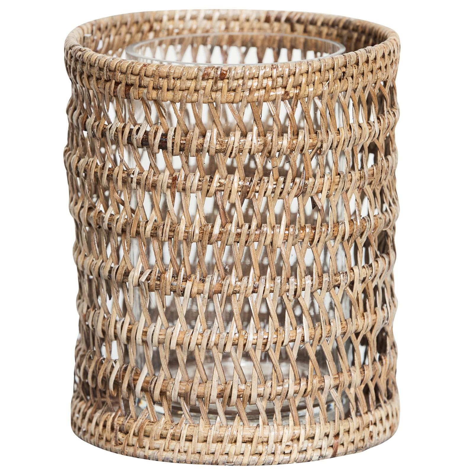 pavillion candleholder - hand woven rattan