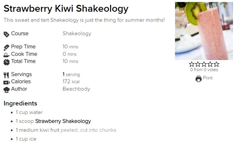 Strawberry Kiwi Shakeology — IamSuper.Fit