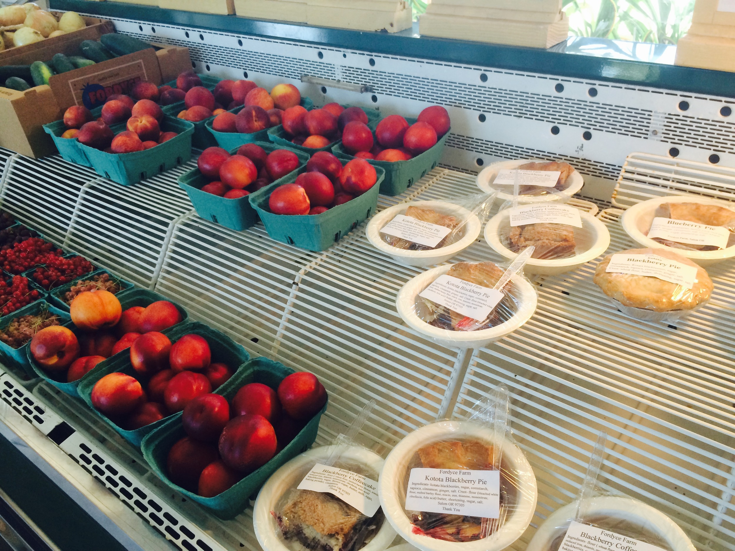 Sample multiple pies.We sell generous slices, and fruit.