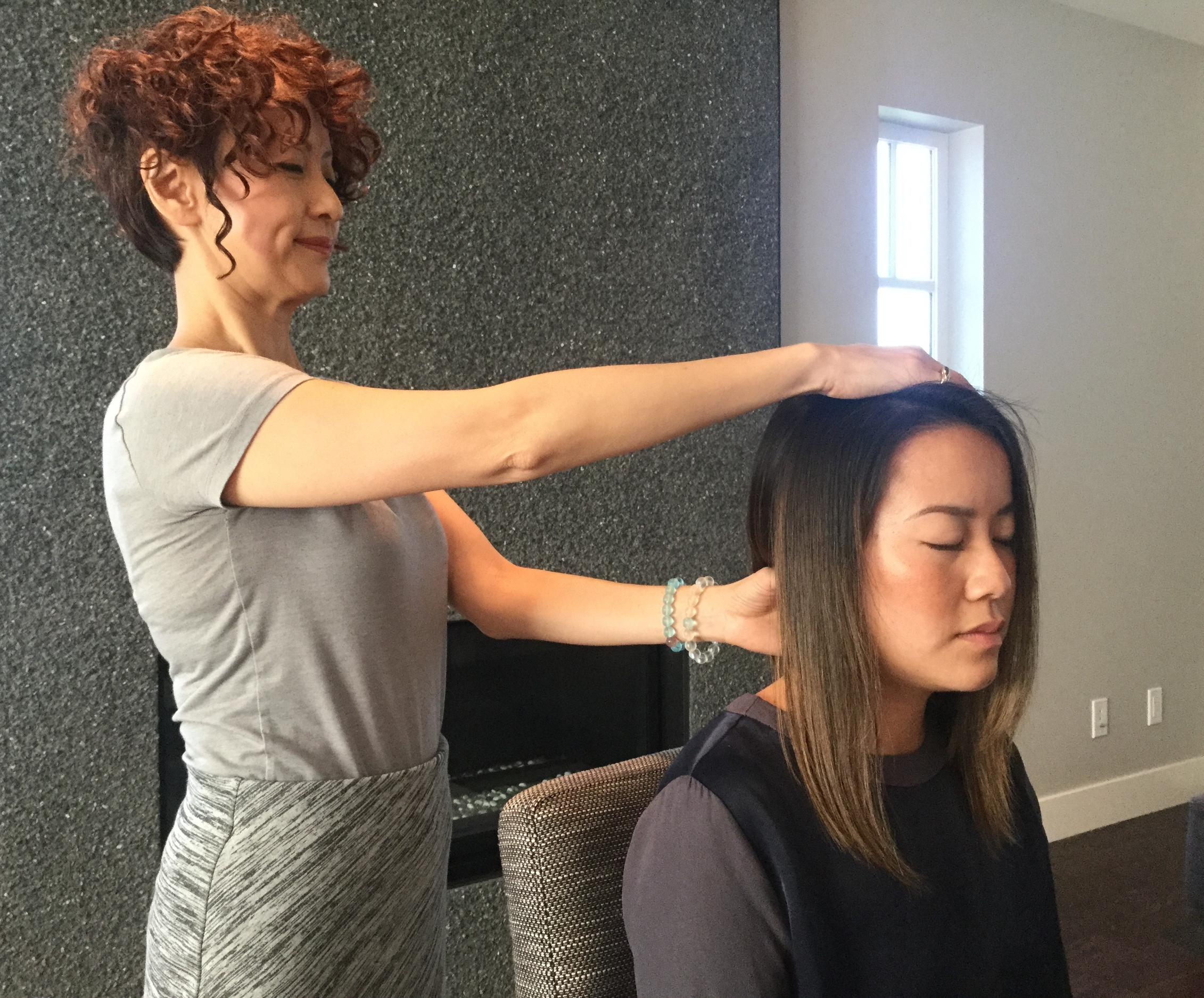 During a Session - Client remains fully clothed.The treatment is given with the client in a standing position and in a seated position, or as the client requires.