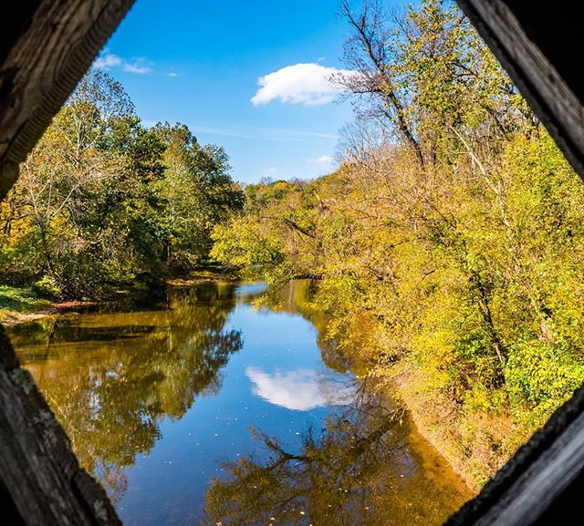 """Through the eyes of a covered bridge"" life is all around us... #organic #autumn #fall #nature #naturephotography #health"