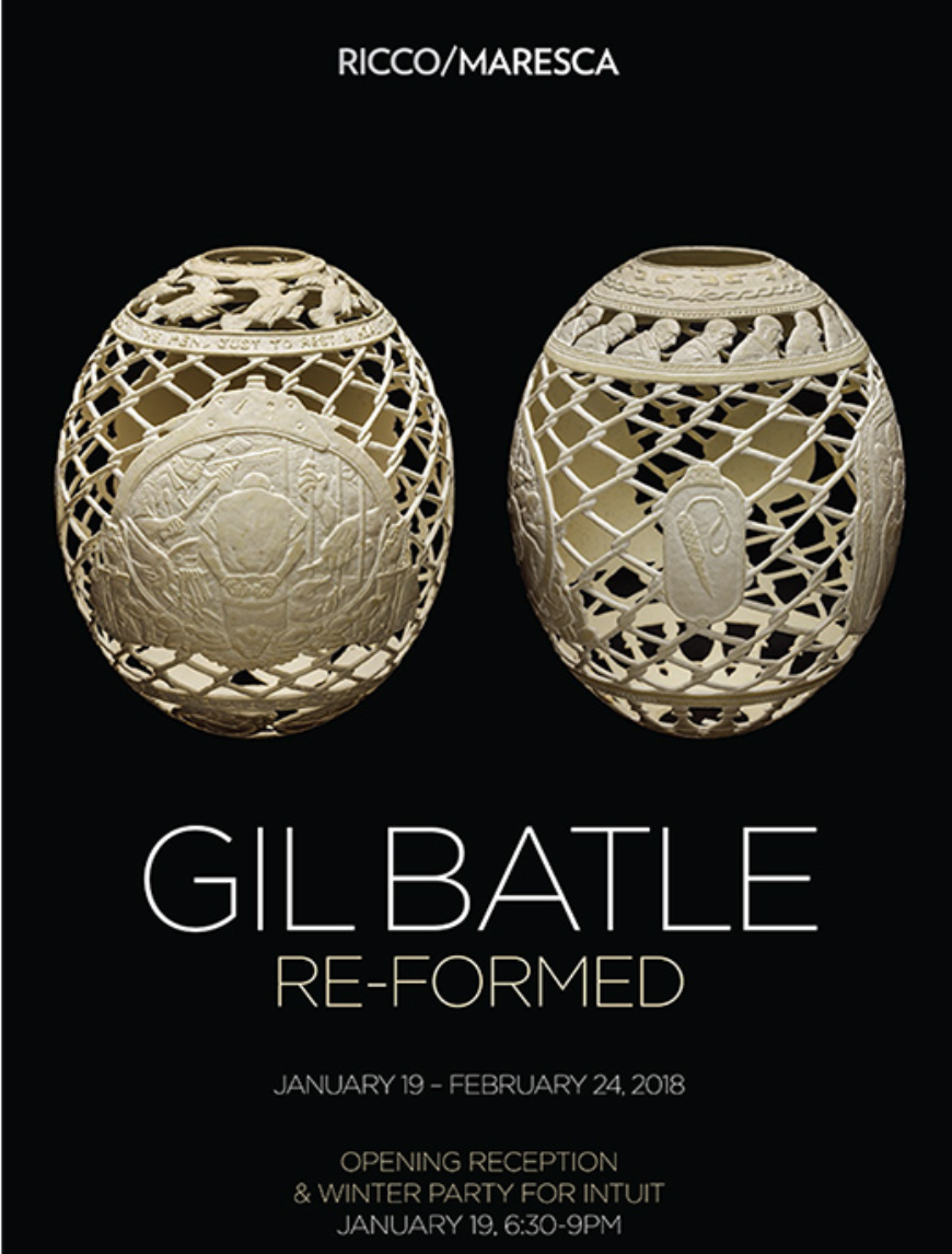 """RE-FORMED - Gil Batle's current exhibit, RE-FORMED, is his second one-person show at Ricco/ Maresca Gallery in New York, NY.On view: January 19 - February 24.Batle's ostrich egg, bas-relief carvings are striking visual chronicles of the American penal system from the inmate's perspective. Born and raised in San Francisco to Filipino parents, Batle spent over 20 years in and out of California prisons for fraud and forgery. To rebuild his life as a free man, he moved to a small island in the Philippines, where he honed his innate drawing abilities through the unlikely medium of carved ostrich egg shells—each with an architecture of pictorial panels supported and separated by a fine lattice of chain-link fencing, razor-wire, or hand-cuffs.The artist's new hyper-detailed, surreal laying card drawing open up new territory in an already remarkable oeuvre. Batle's work and story have been featured in CBS News, The New York Times, The Paris Review, and Slate, among many others. """"Re-Formed"""" is the artist's second one-person show at Ricco/ Maresca Gallery."""